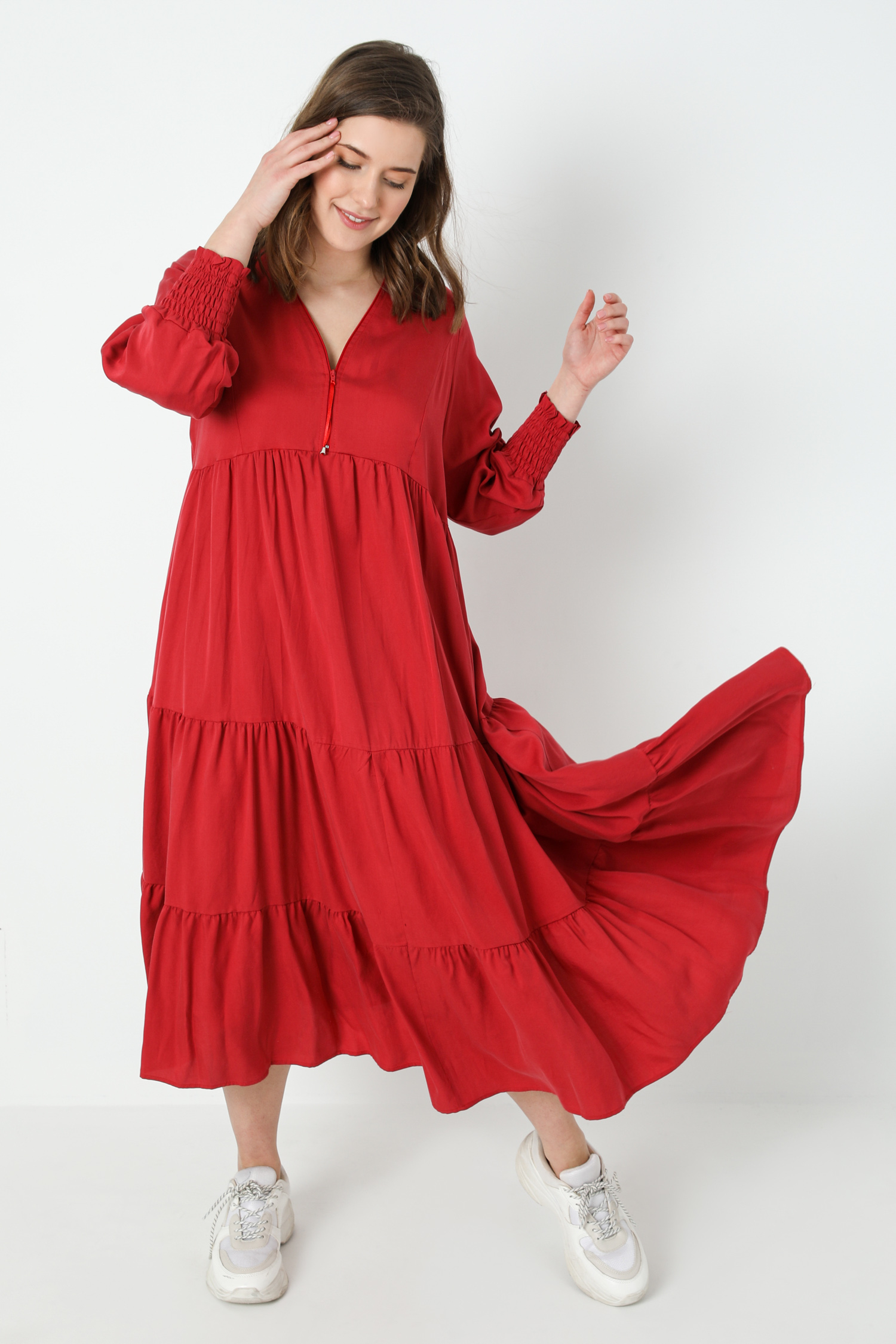 Long bohemian style dress in tencel