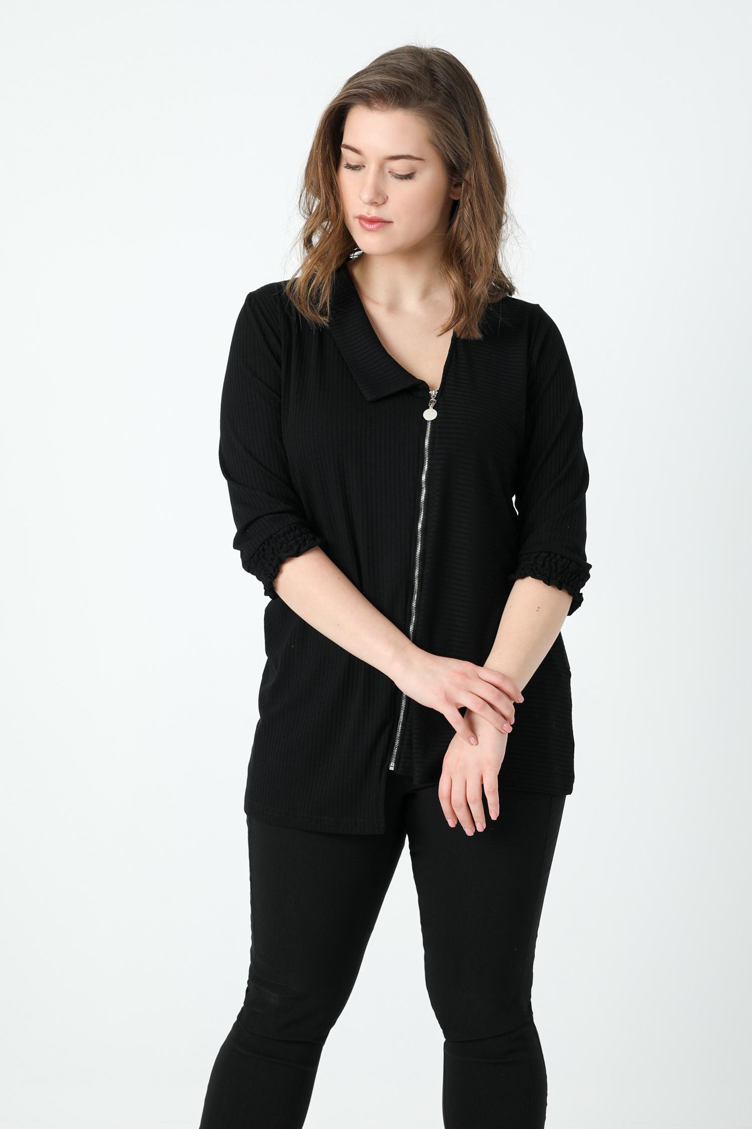Zipped mesh cardigan (shipping February 25/28).