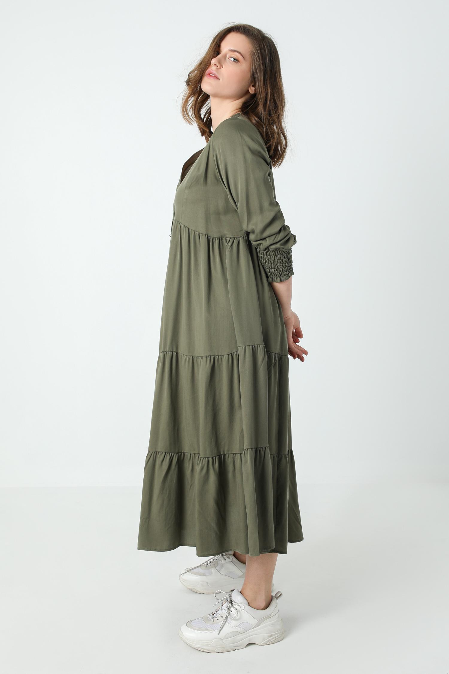 Long bohemian style dress in tencel