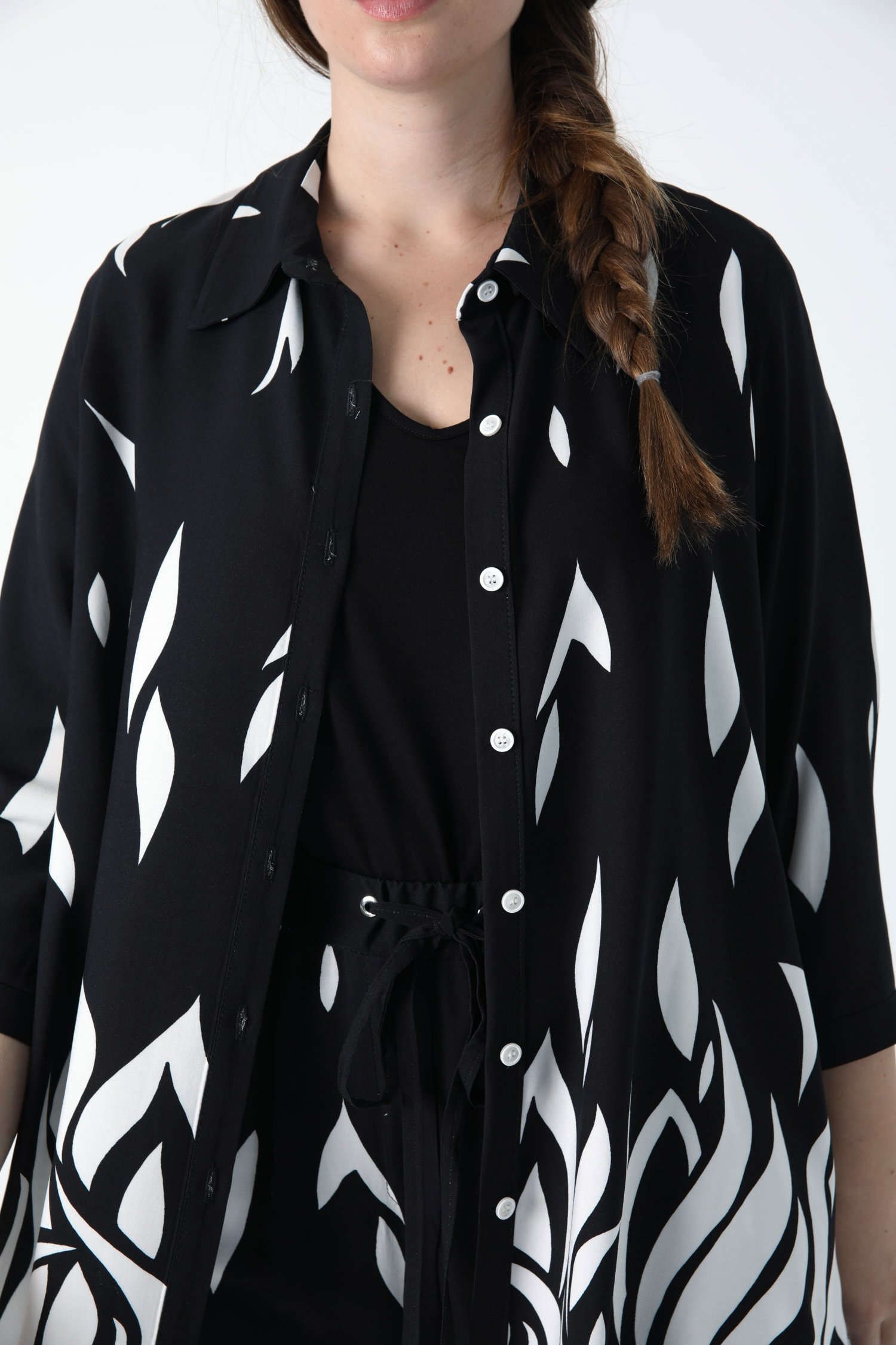 Shirt in fibranne design with printed base