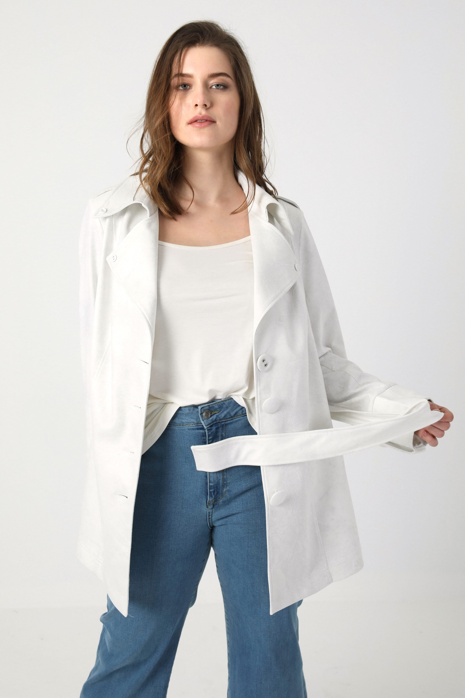 Cropped vegan leather trench jacket