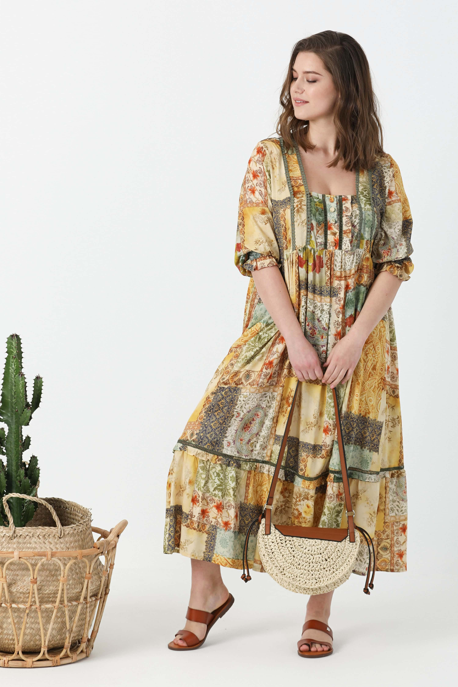 Bohemian style dress in printed viscose with braid