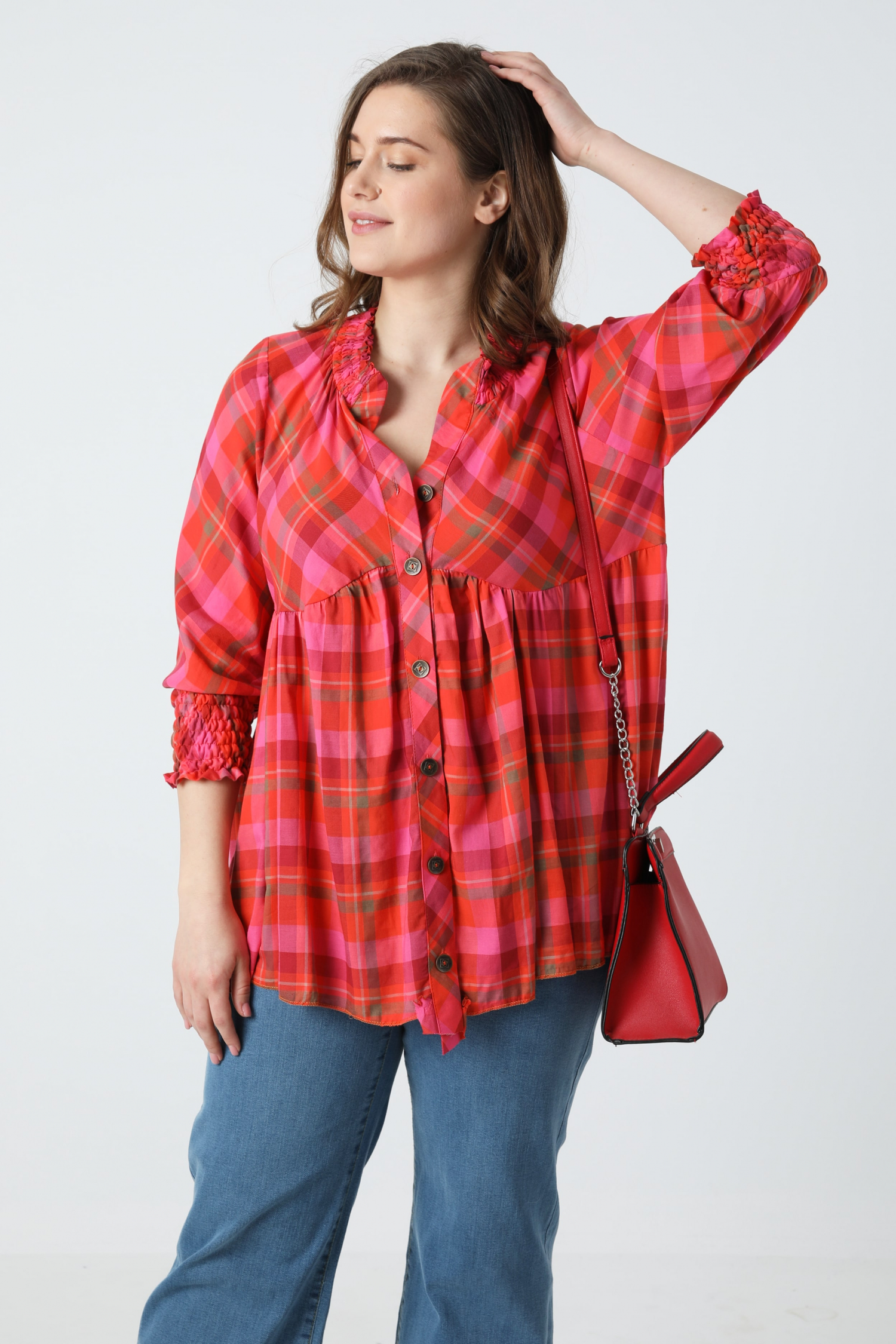 3/4 sleeve plaid shirt (shipping April 5/10)