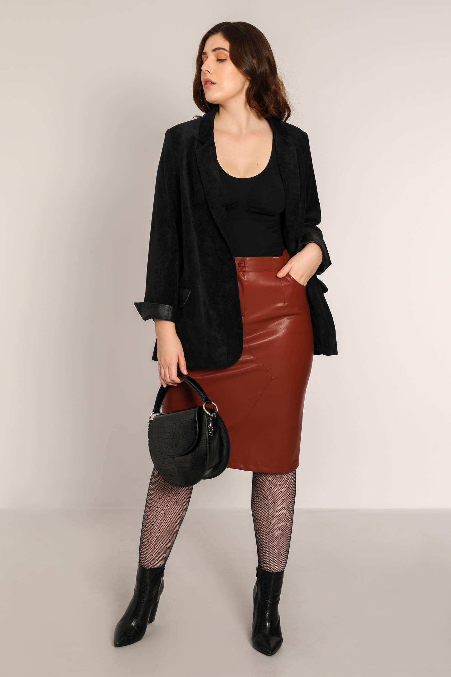 Vegan leather pencil skirt