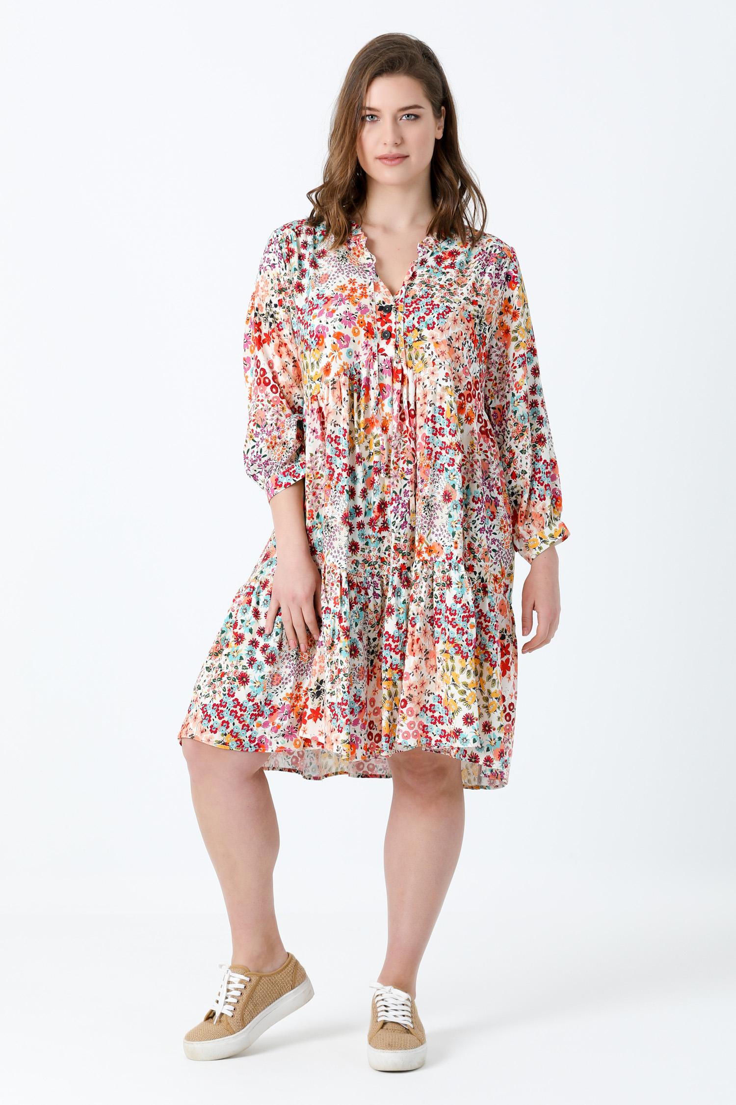 Midi dress in printed fibranne