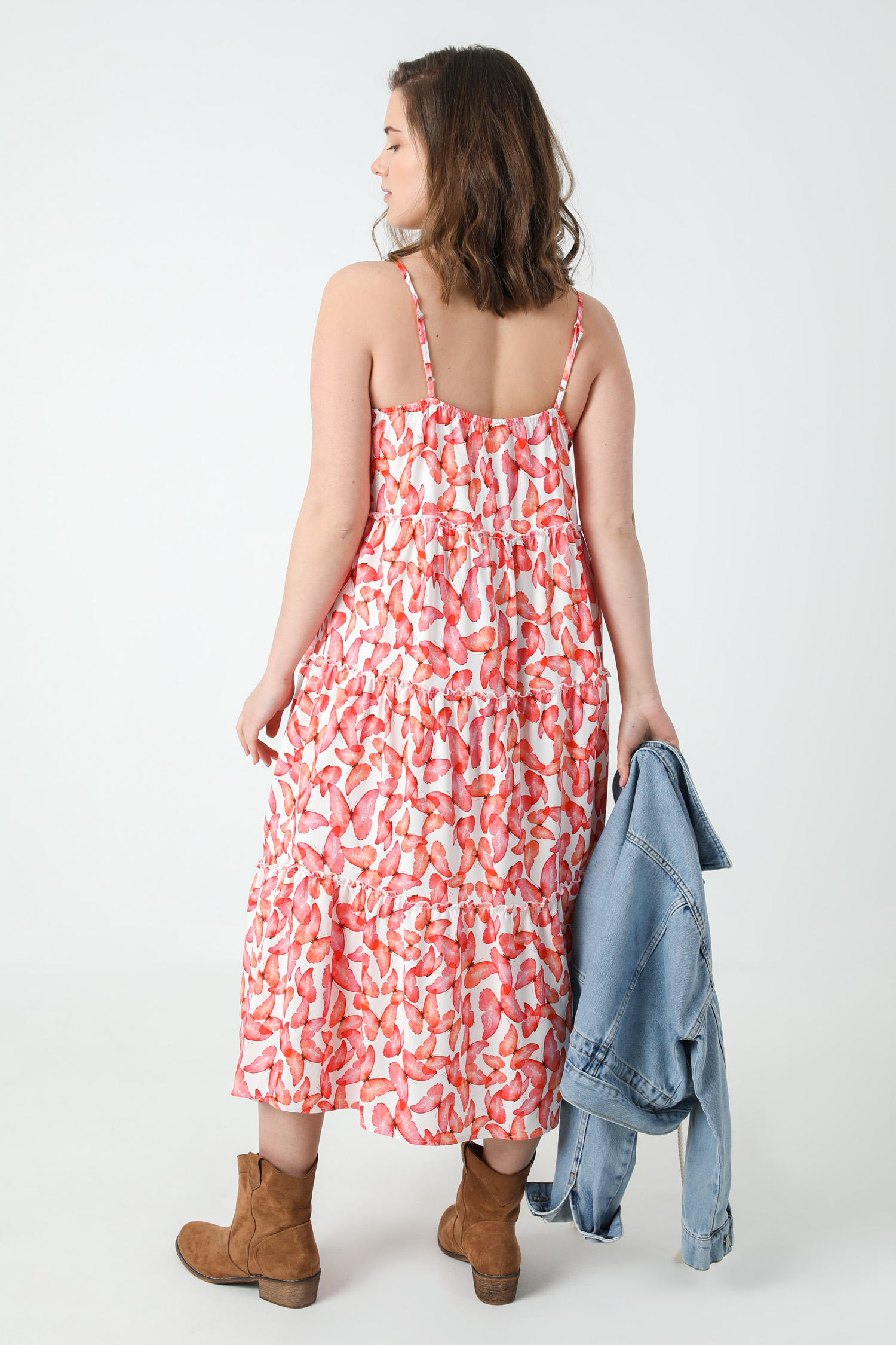 Long printed dress with straps
