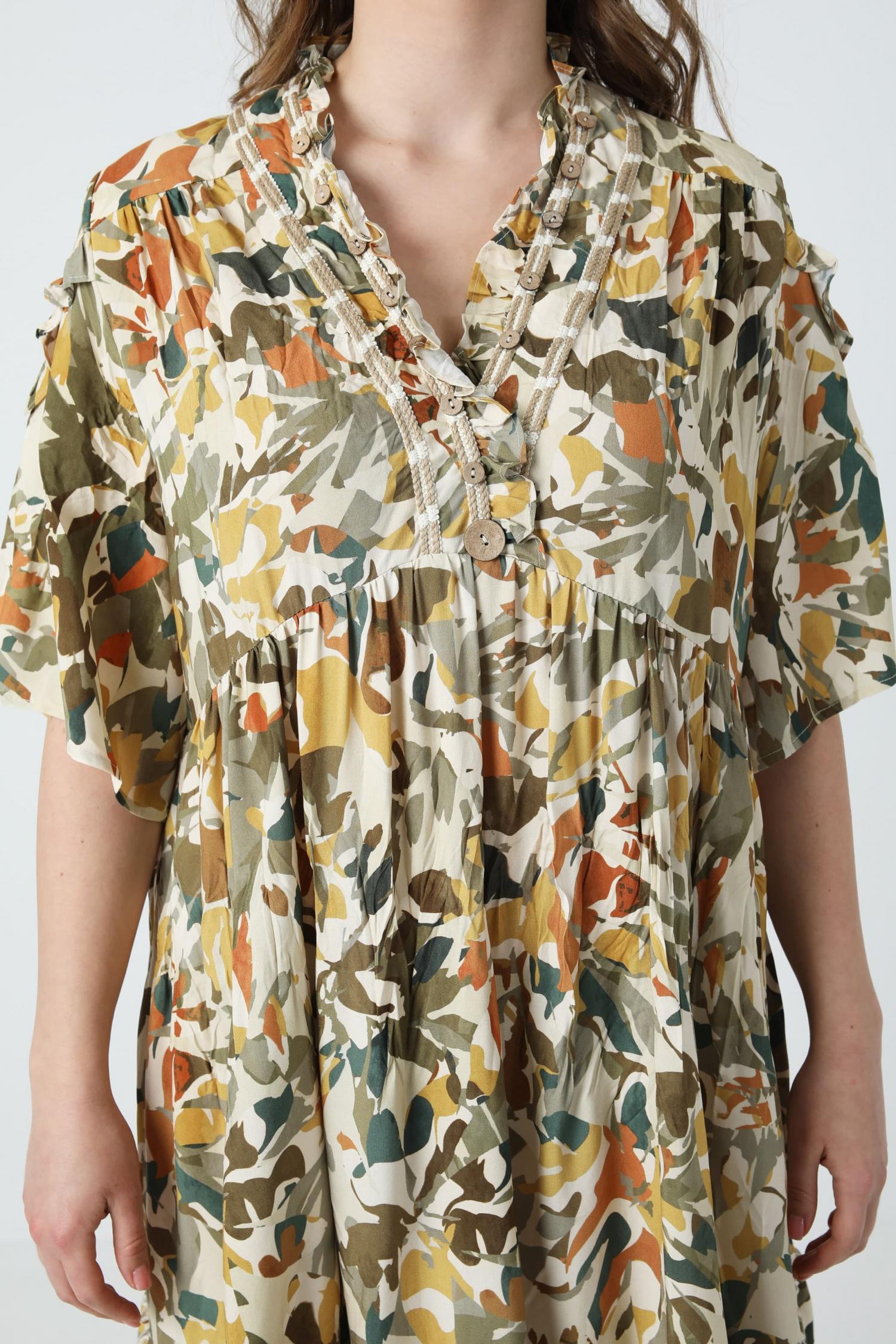 Bohemian style midi print dress (Shipping April 5-10)