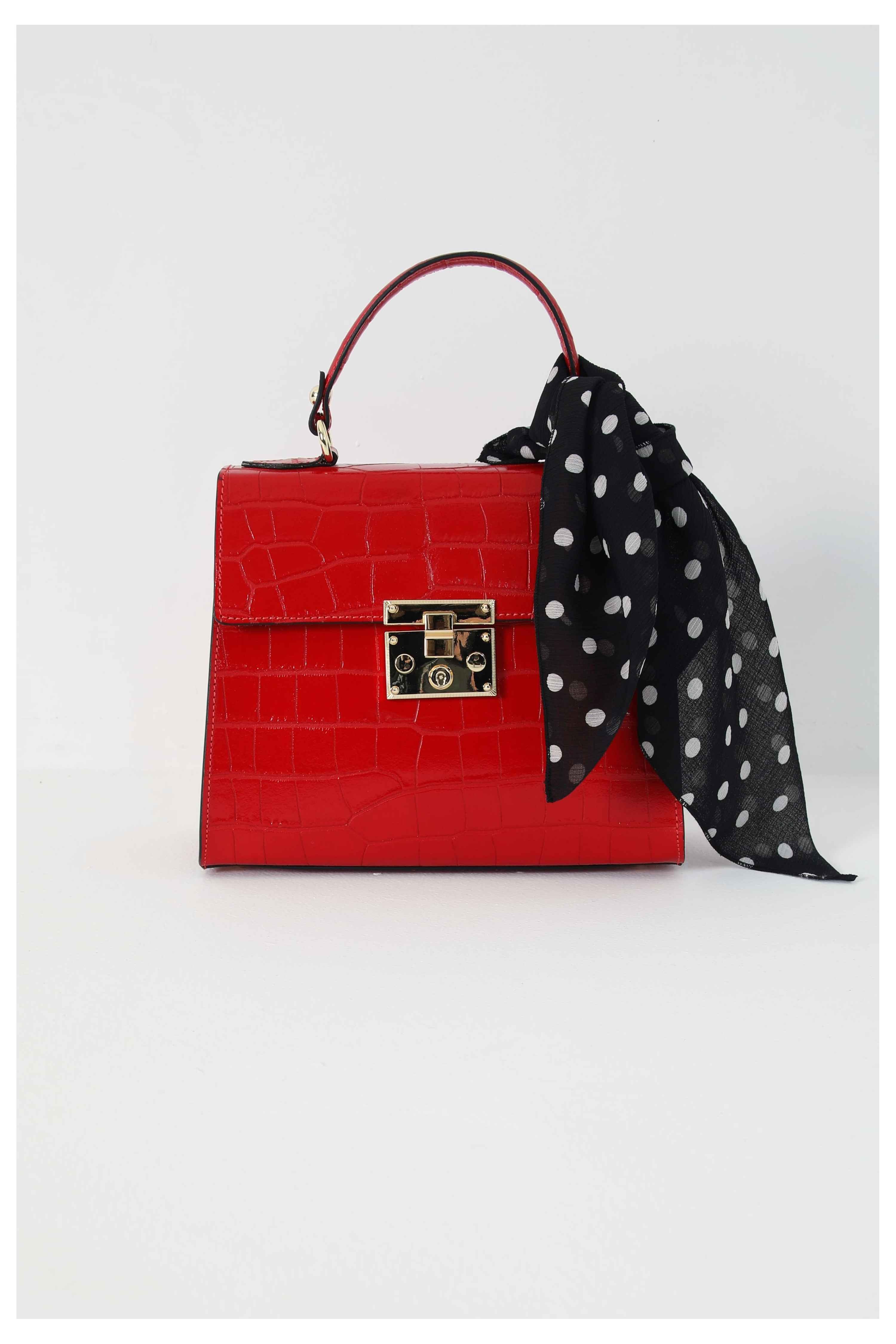 Croc-effect leather cross-body bag