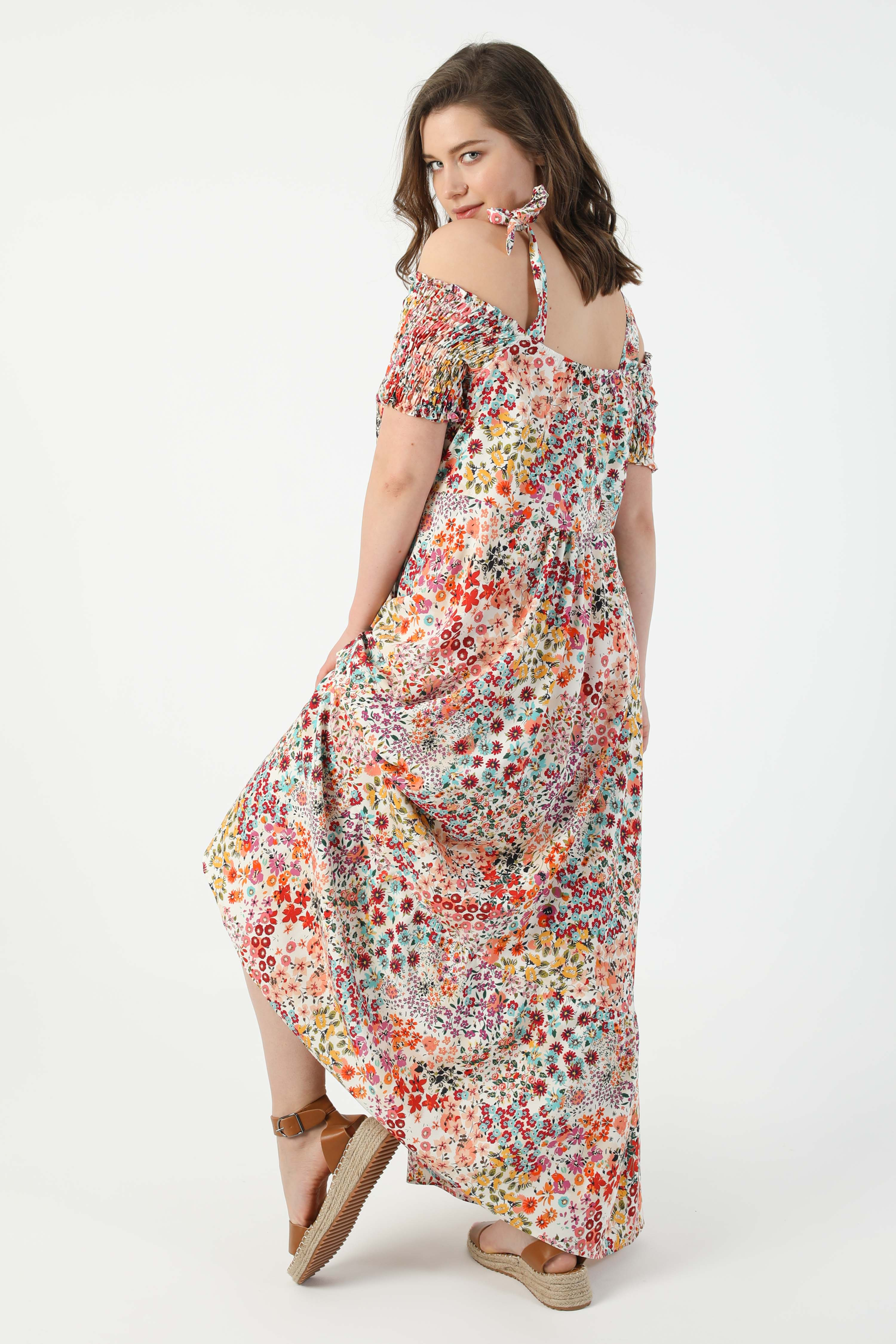 Long printed dress with straps (shipping May 10/15)