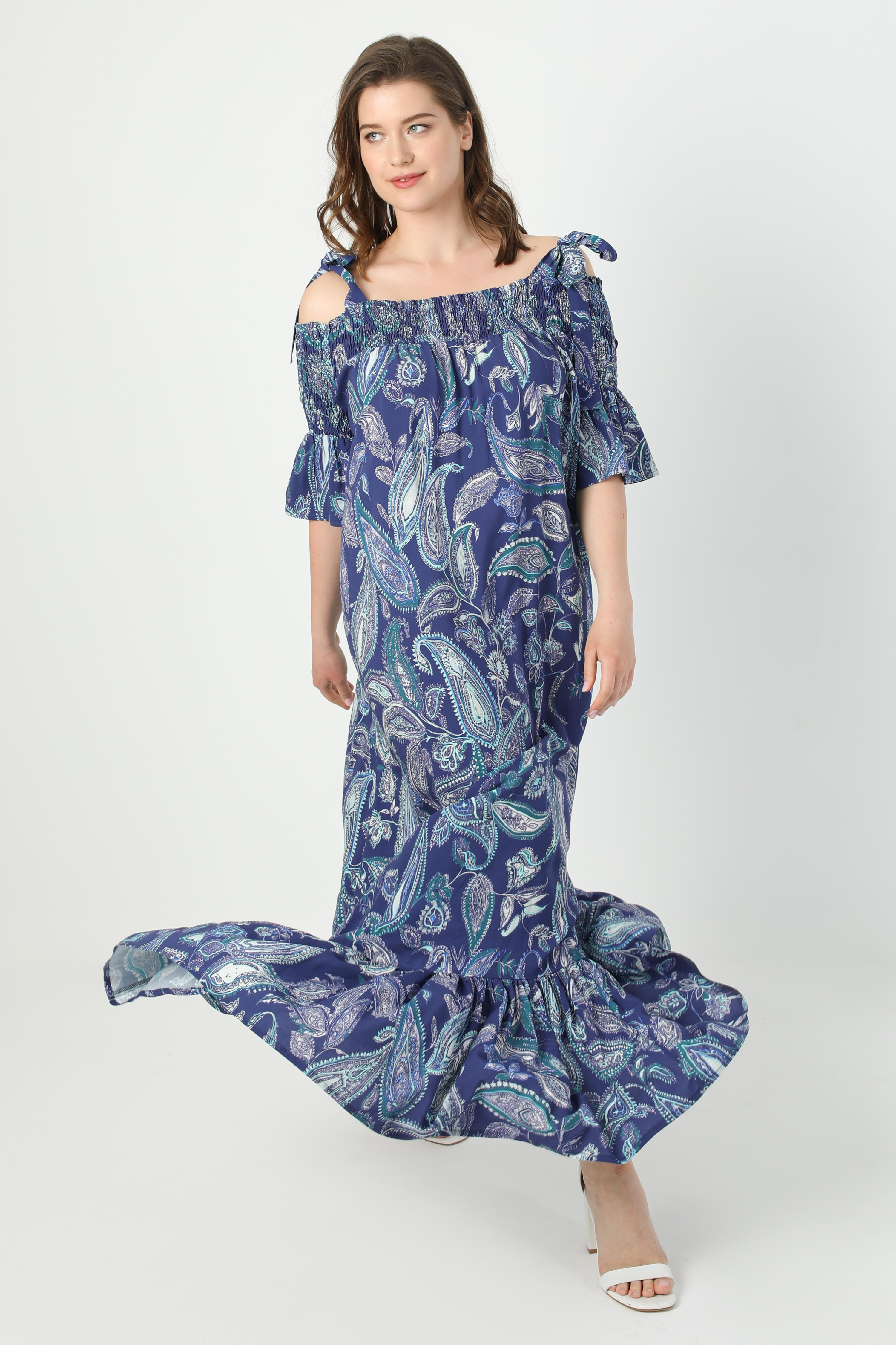 Printed dress with straps and smocking (shipping May 20/25)