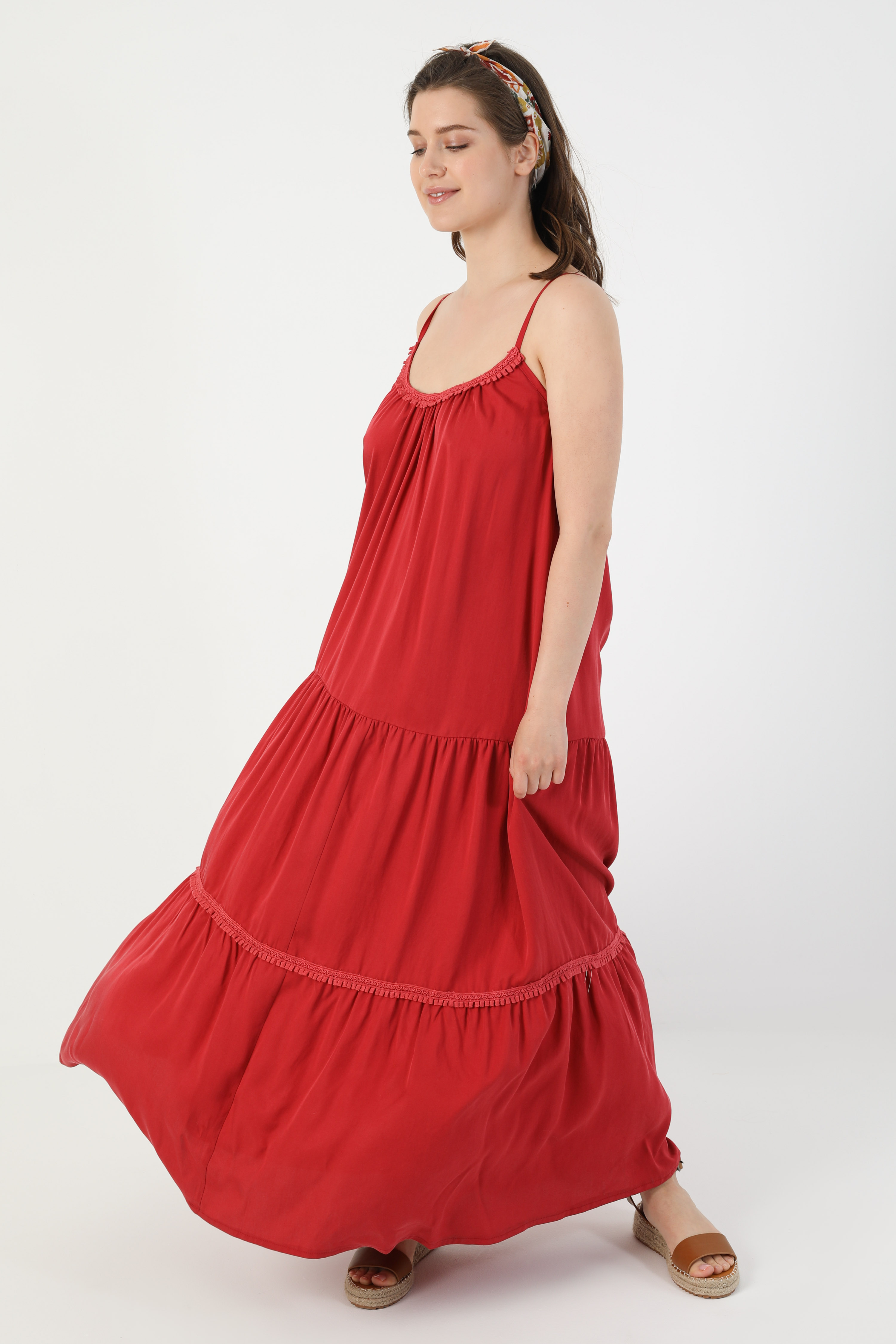 Plain dress with bohemian straps (shipping April 10/15).