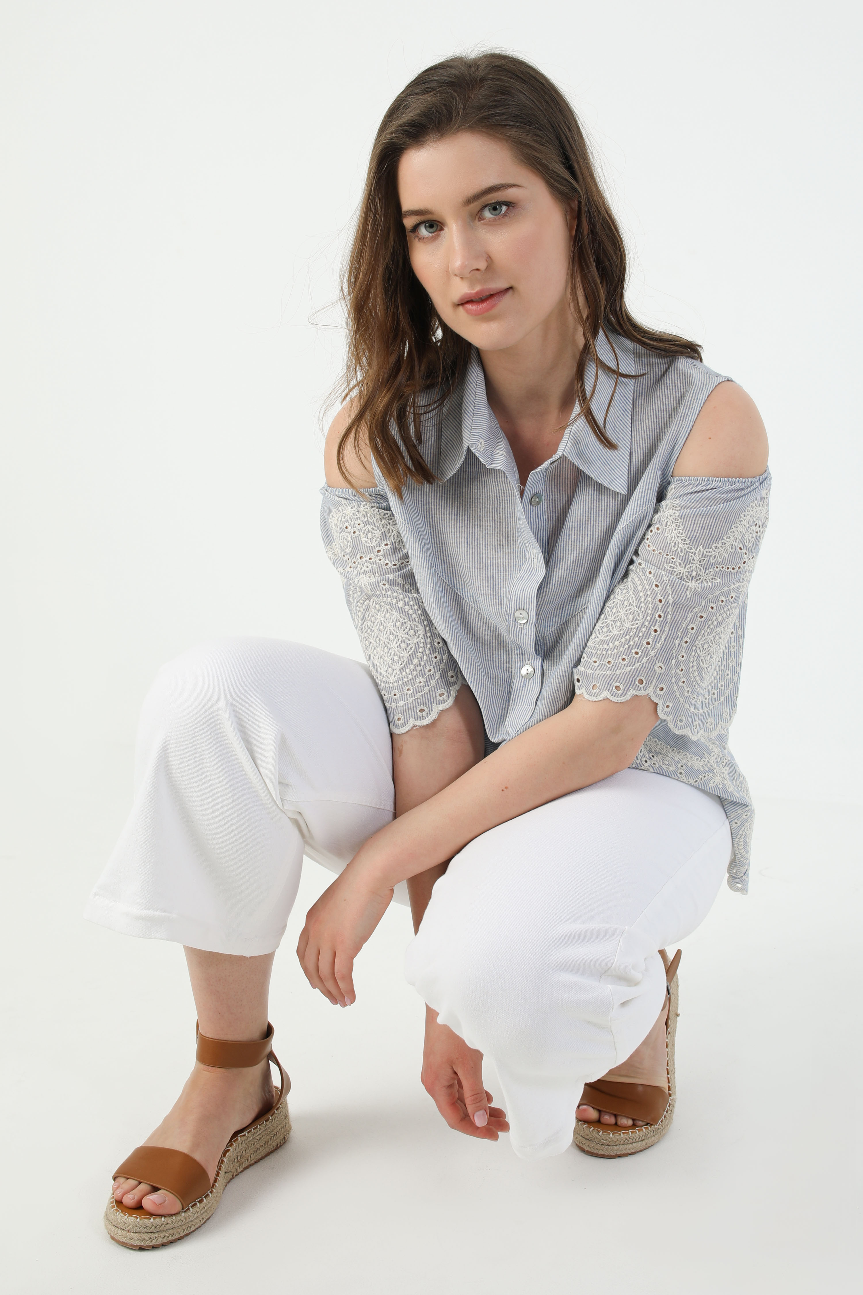 Striped blouse with a lace base