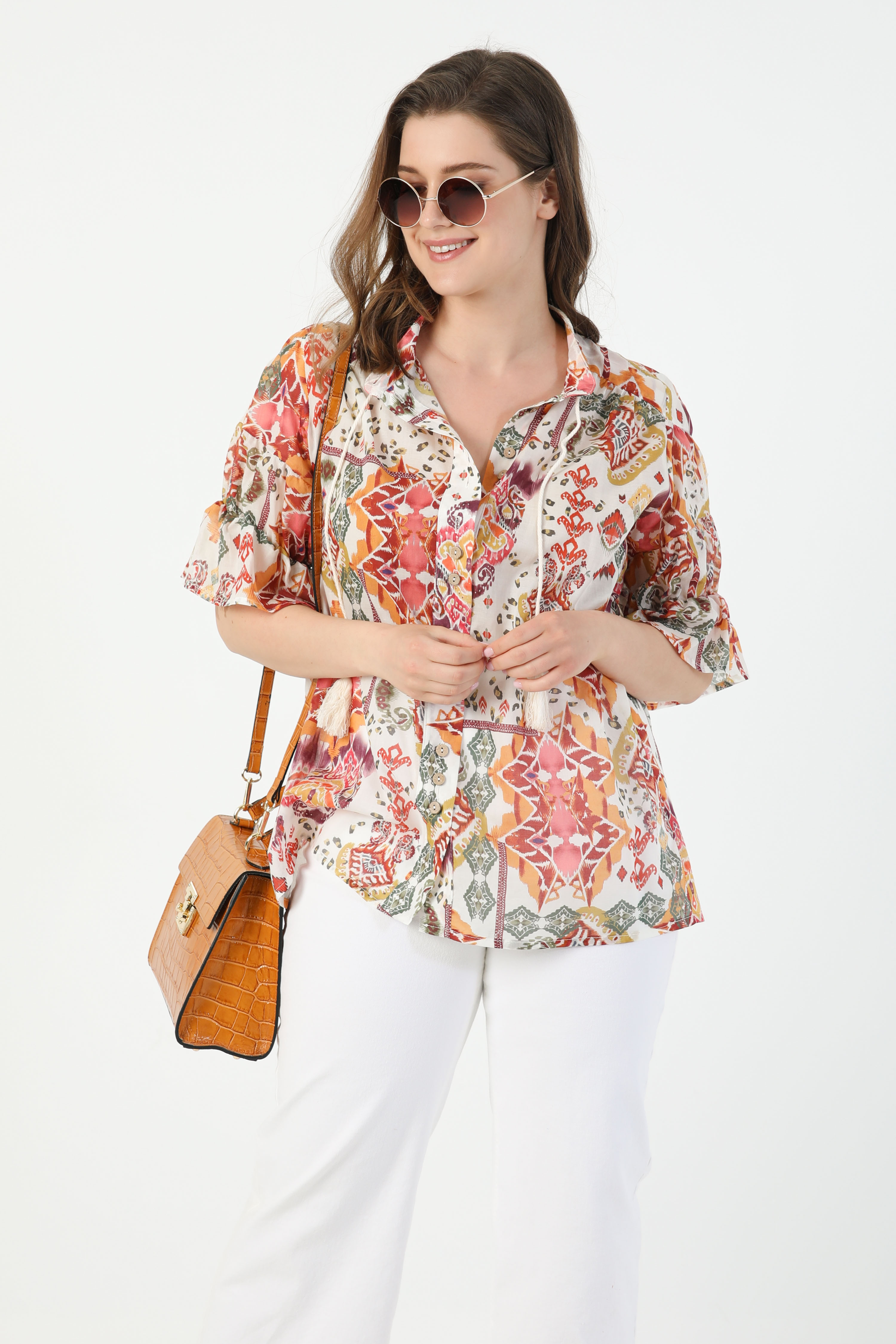 Printed cotton voile shirt