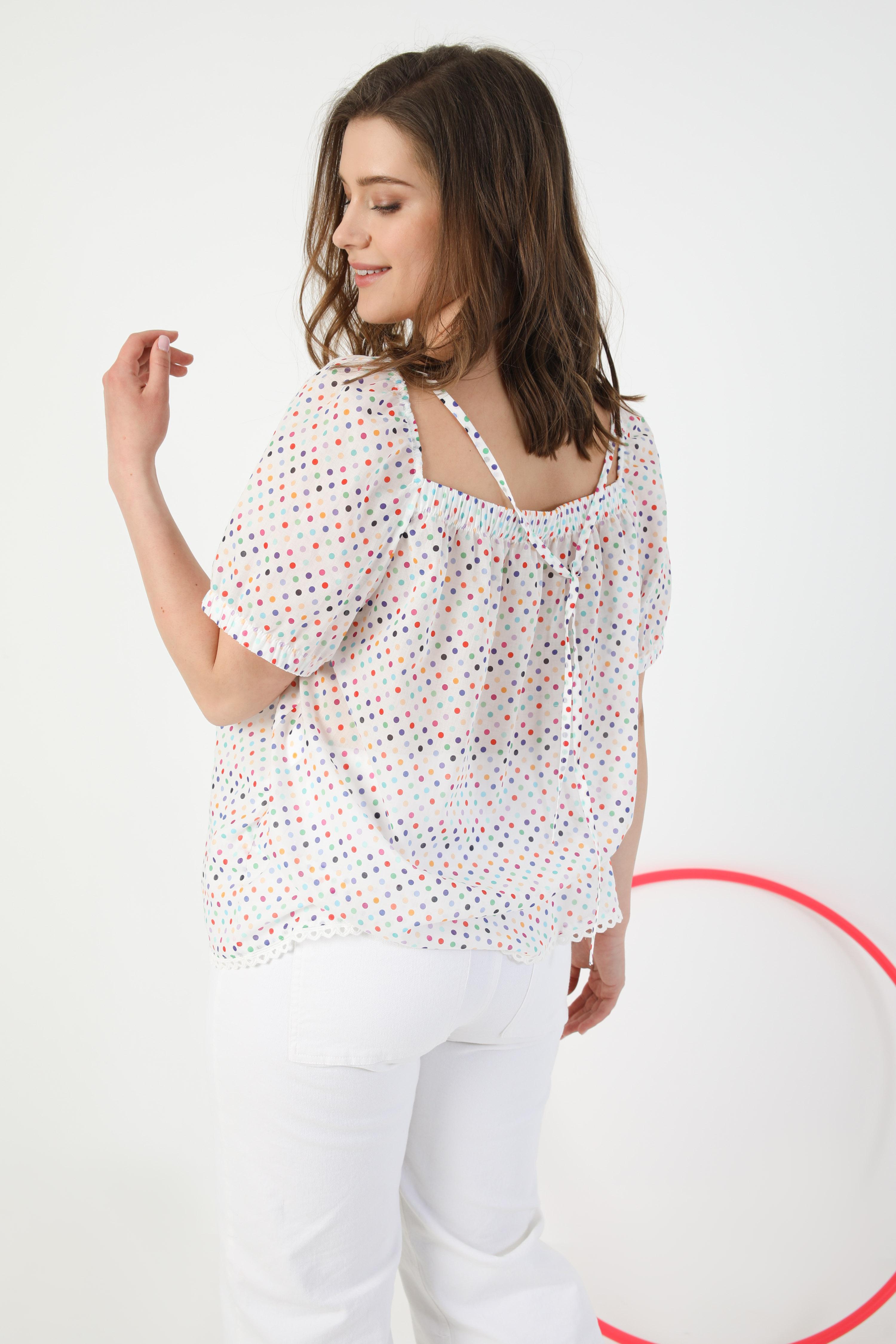 Polka-dot cotton veil blouse (shipping May 5/10)