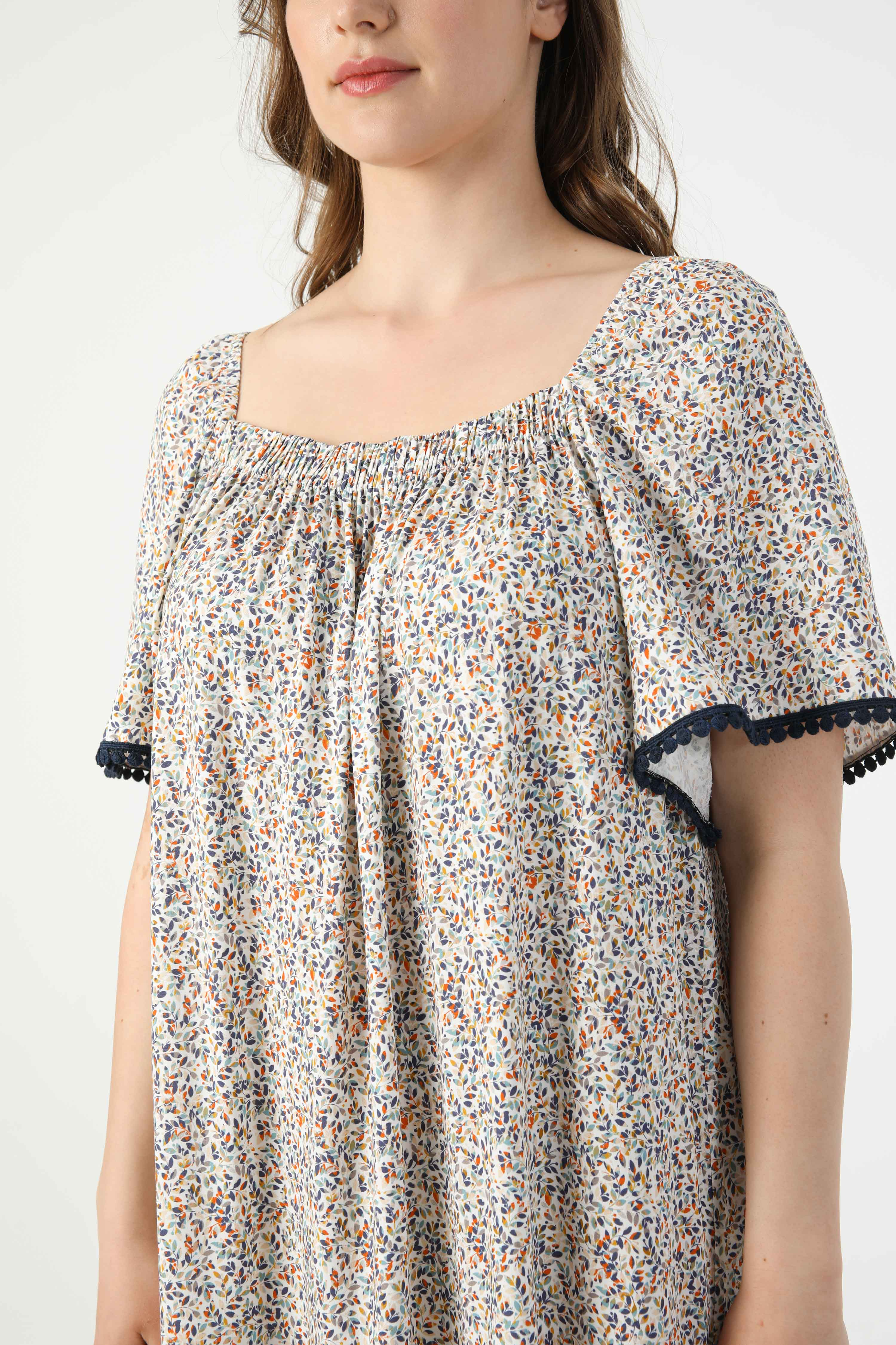 Long printed dress in oeko-tex fabric