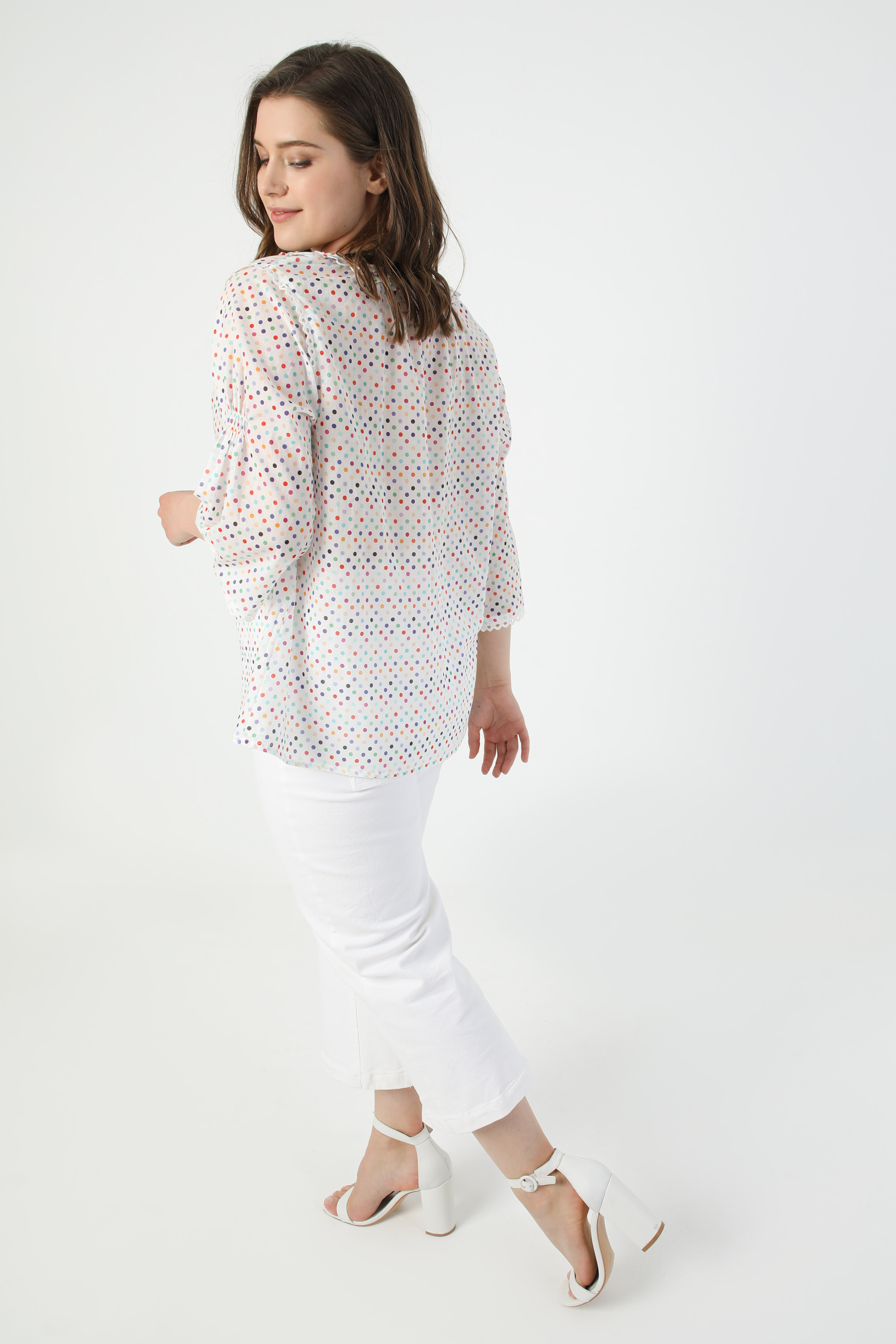 Multicolored polka-dot cotton veil shirt (shipping May 5/10)