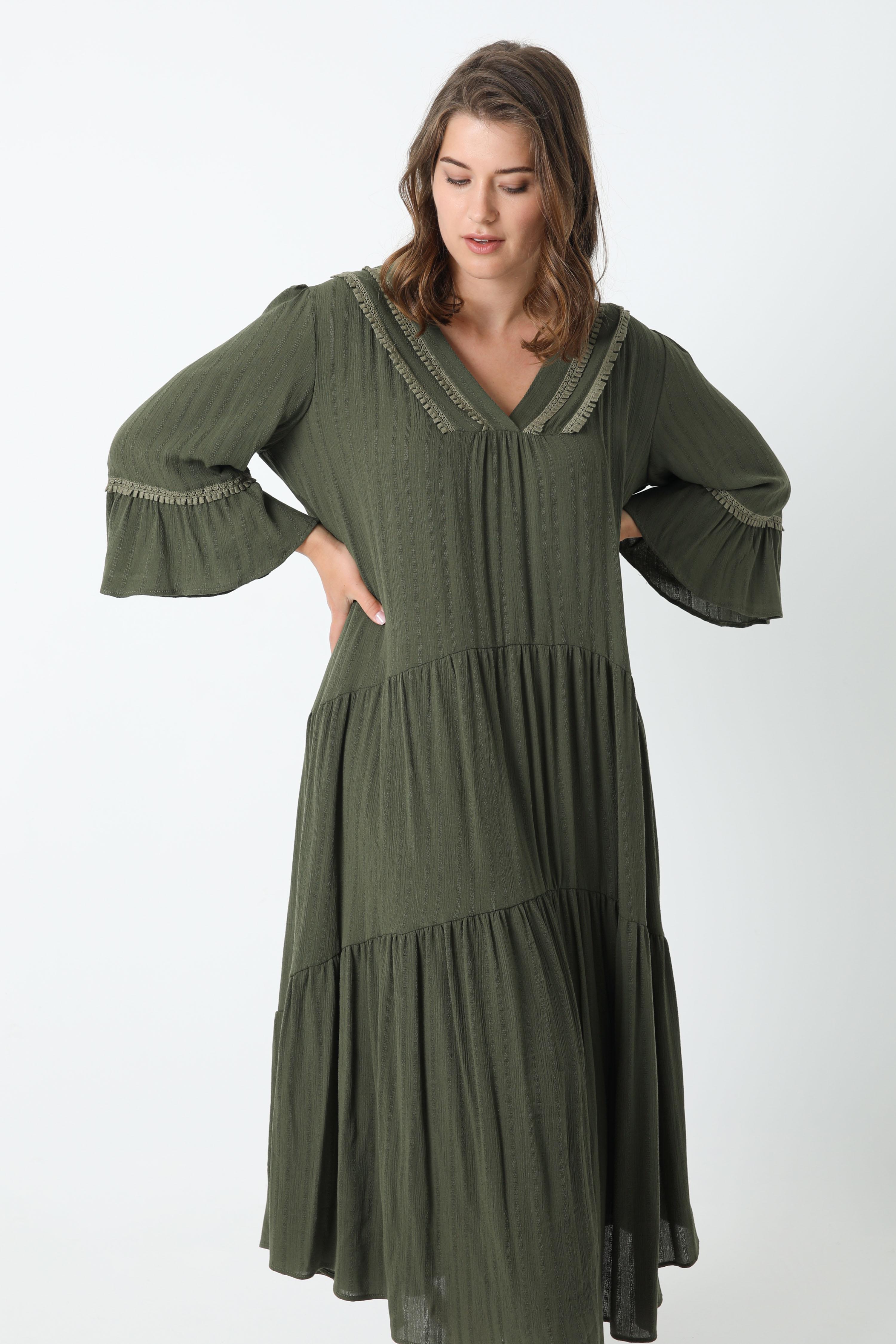 Long striped crepon dress (Shipping 10/15 April)