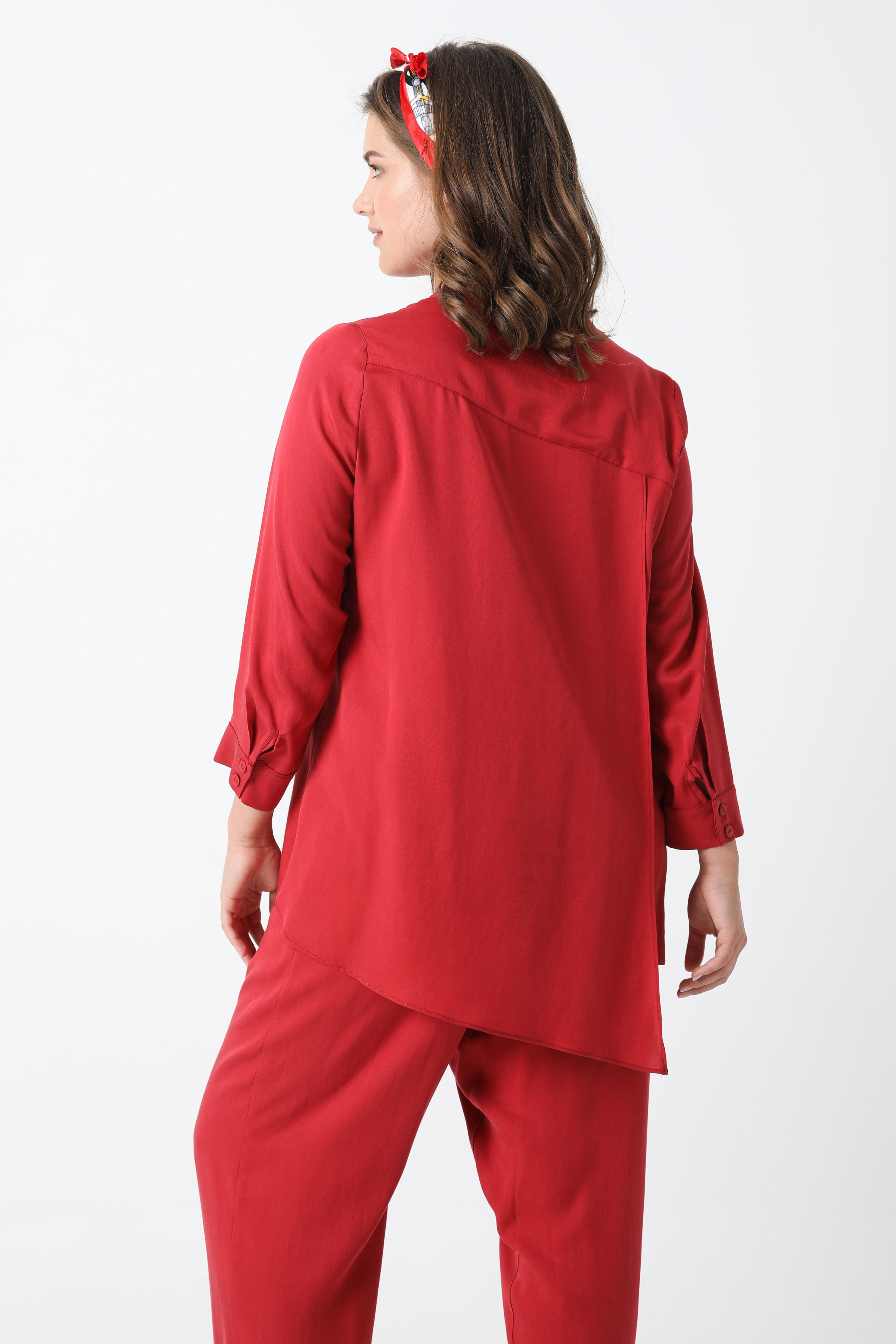 Tencel shirt with asymmetric hem