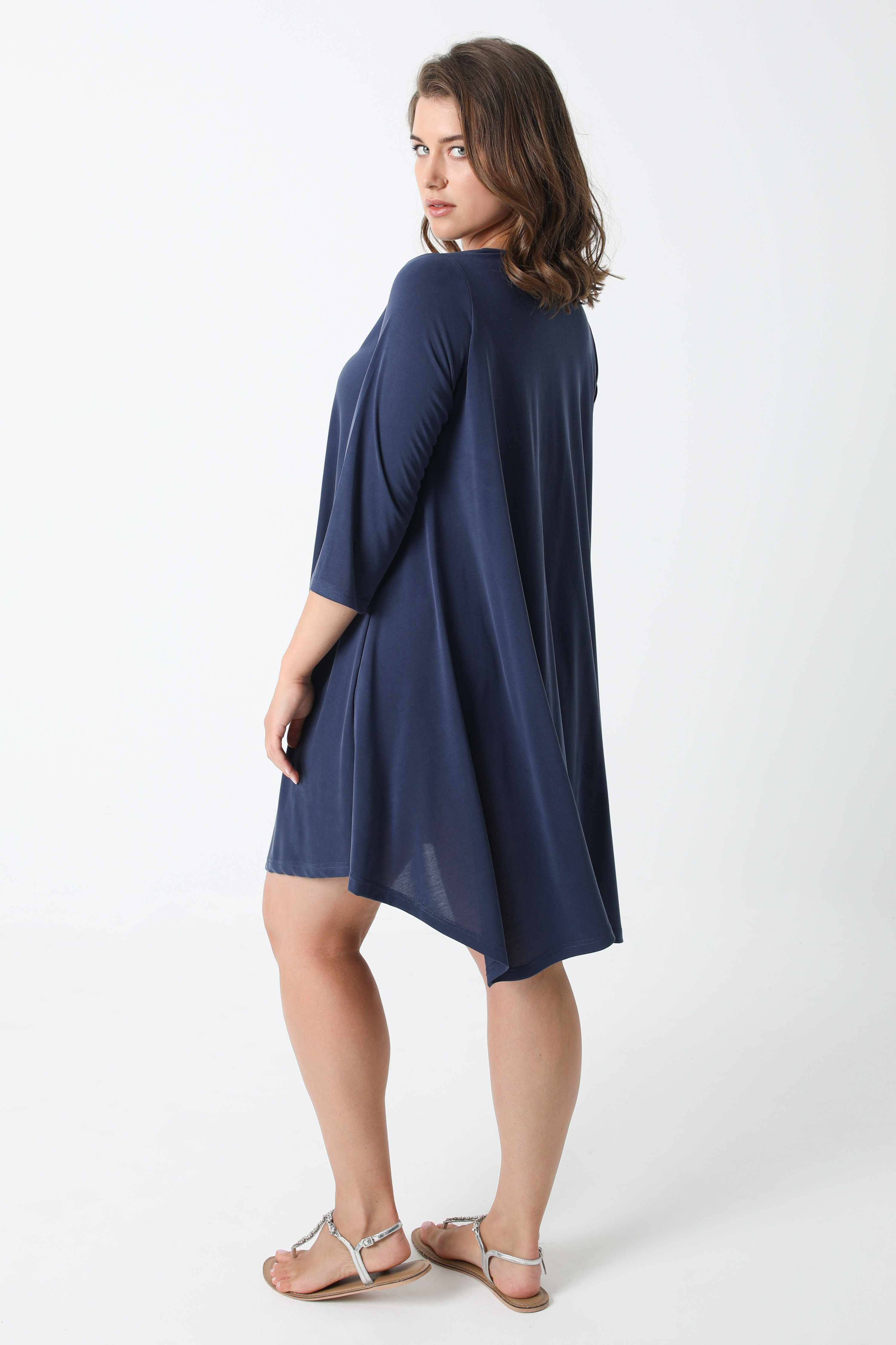 Zipped dress with silver modal ring