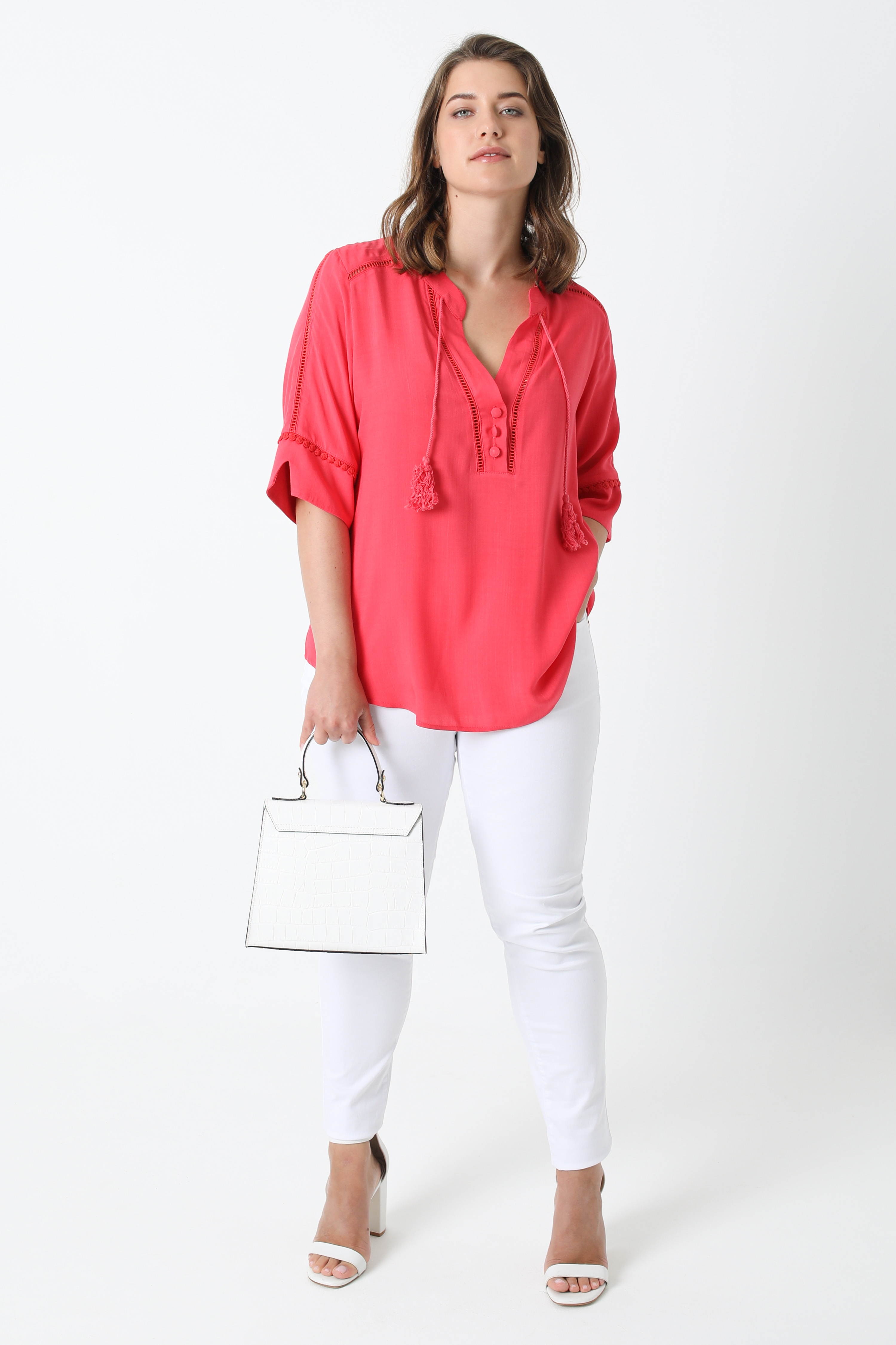 Plain blouse with braid (shipping May 5/10)