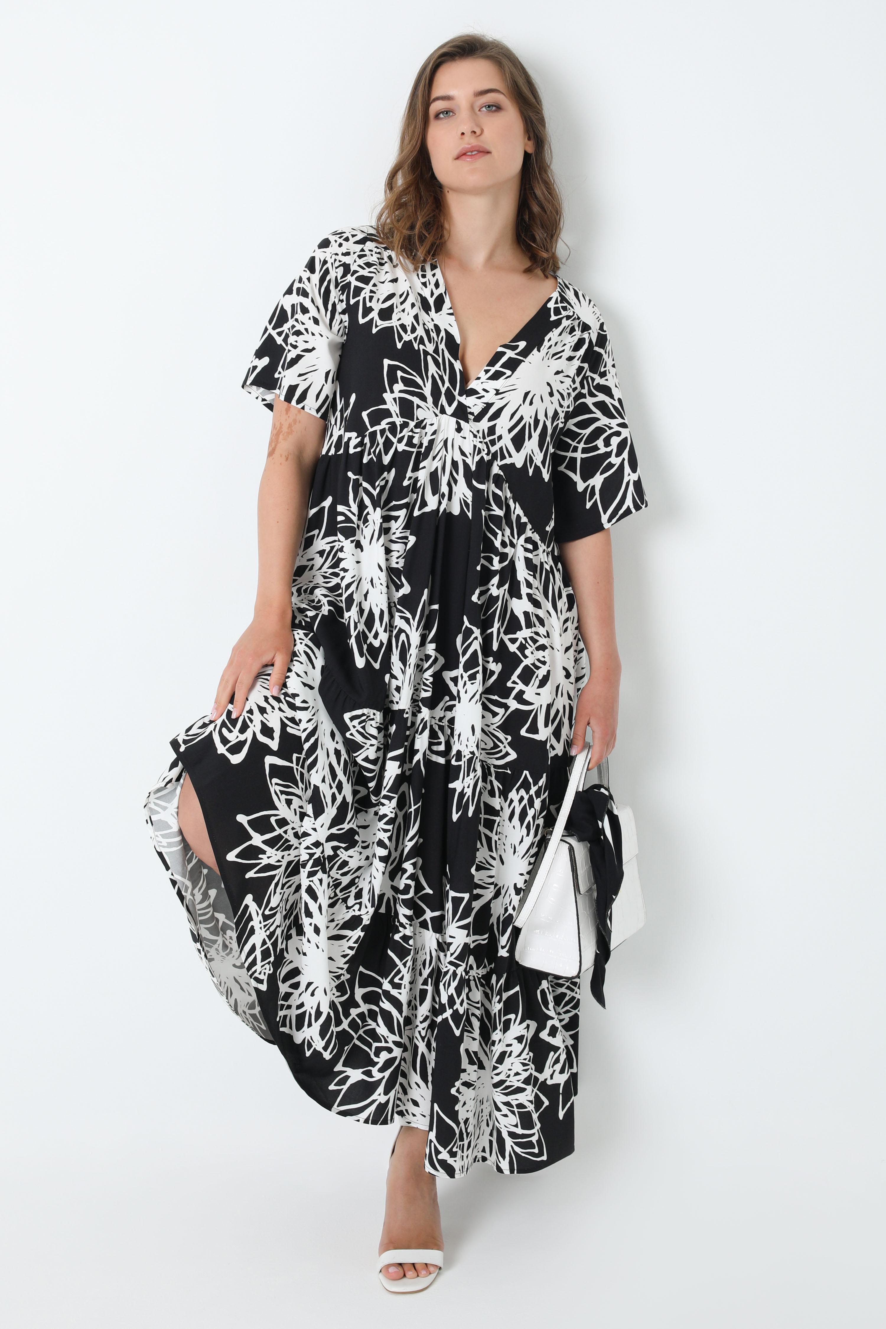 Long dress in printed fibranne (shipping June 20/25)
