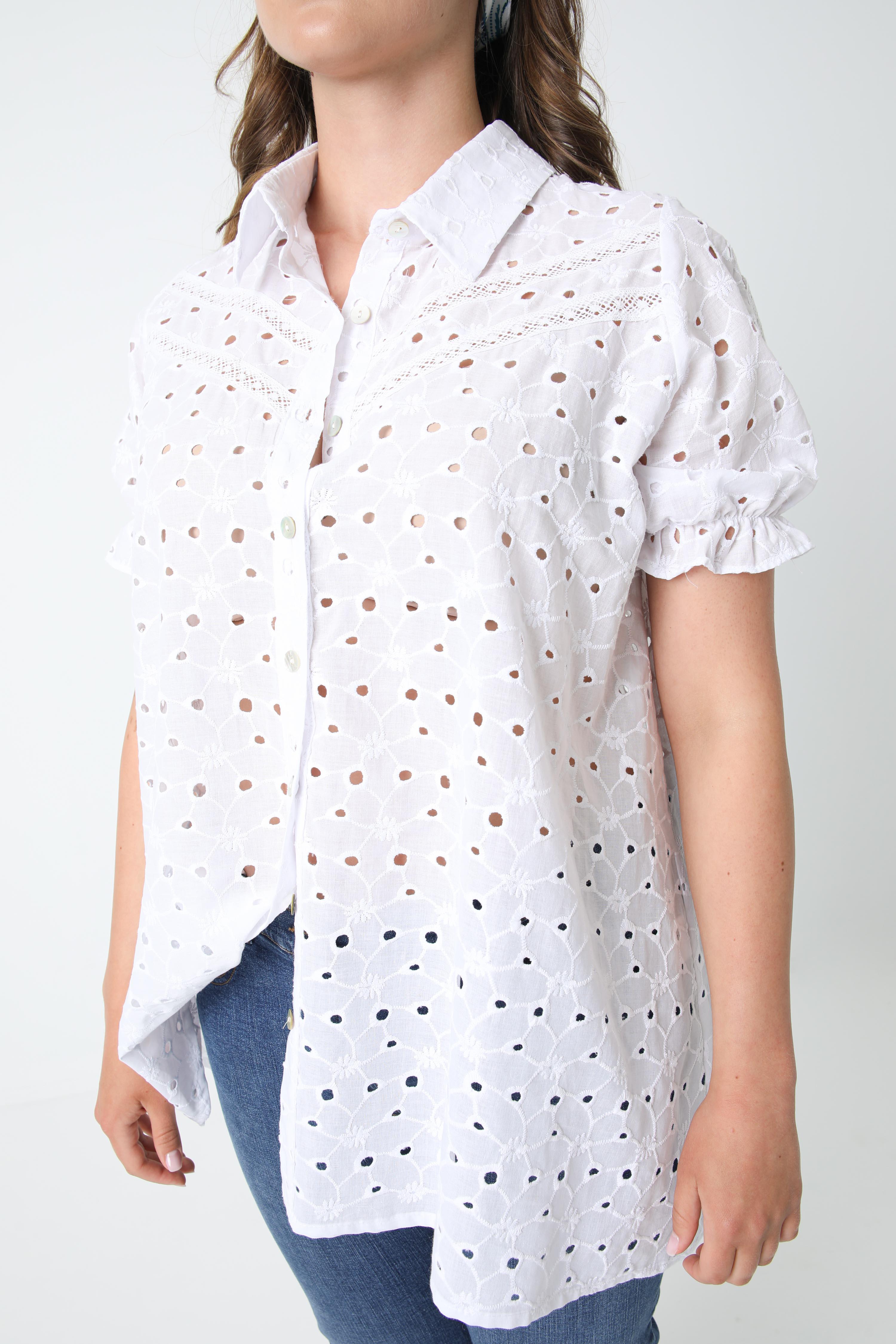English embroidery shirt
