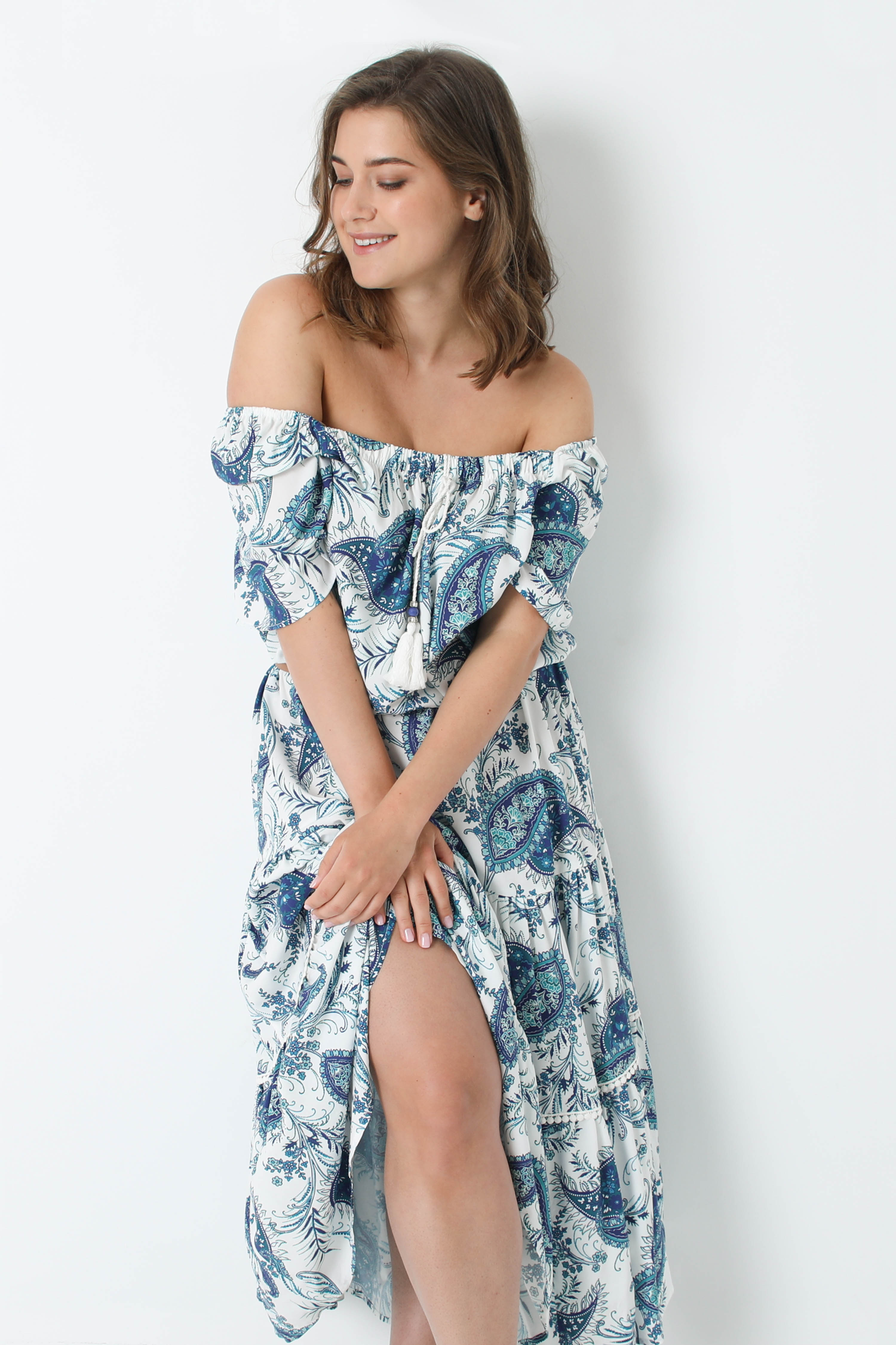 Long printed dress with square neck oeko-tex fabrics (Shipping May 30 / June 5)
