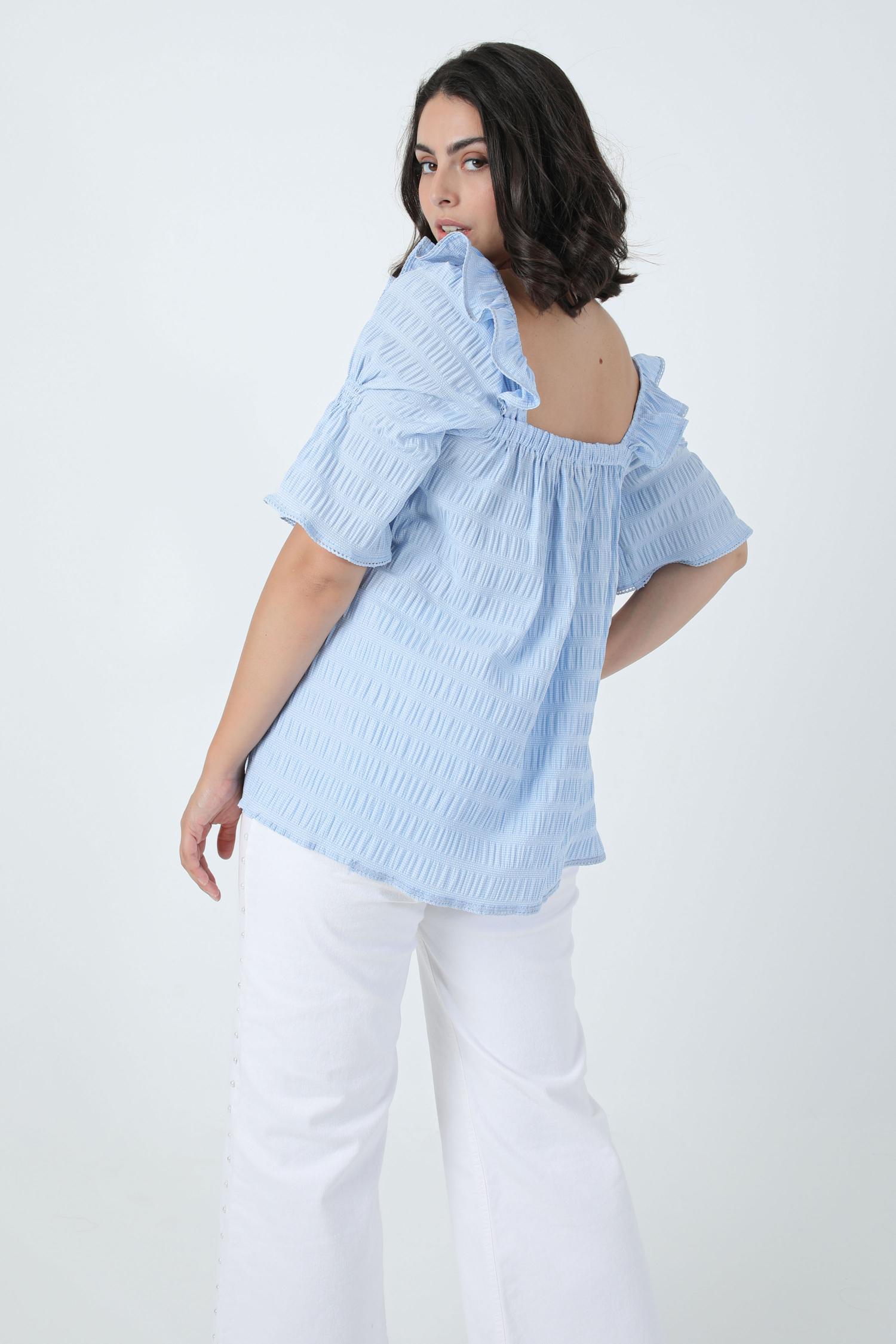Square neck gingham smocked blouse