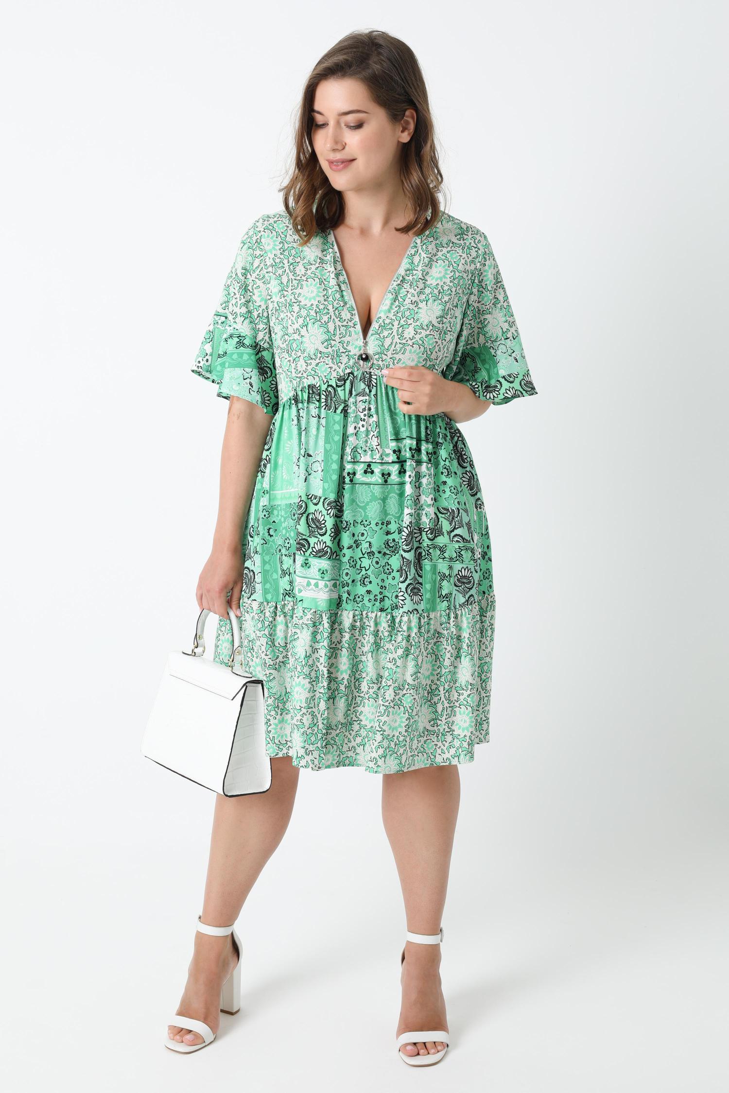 Printed dress with zipped neckline