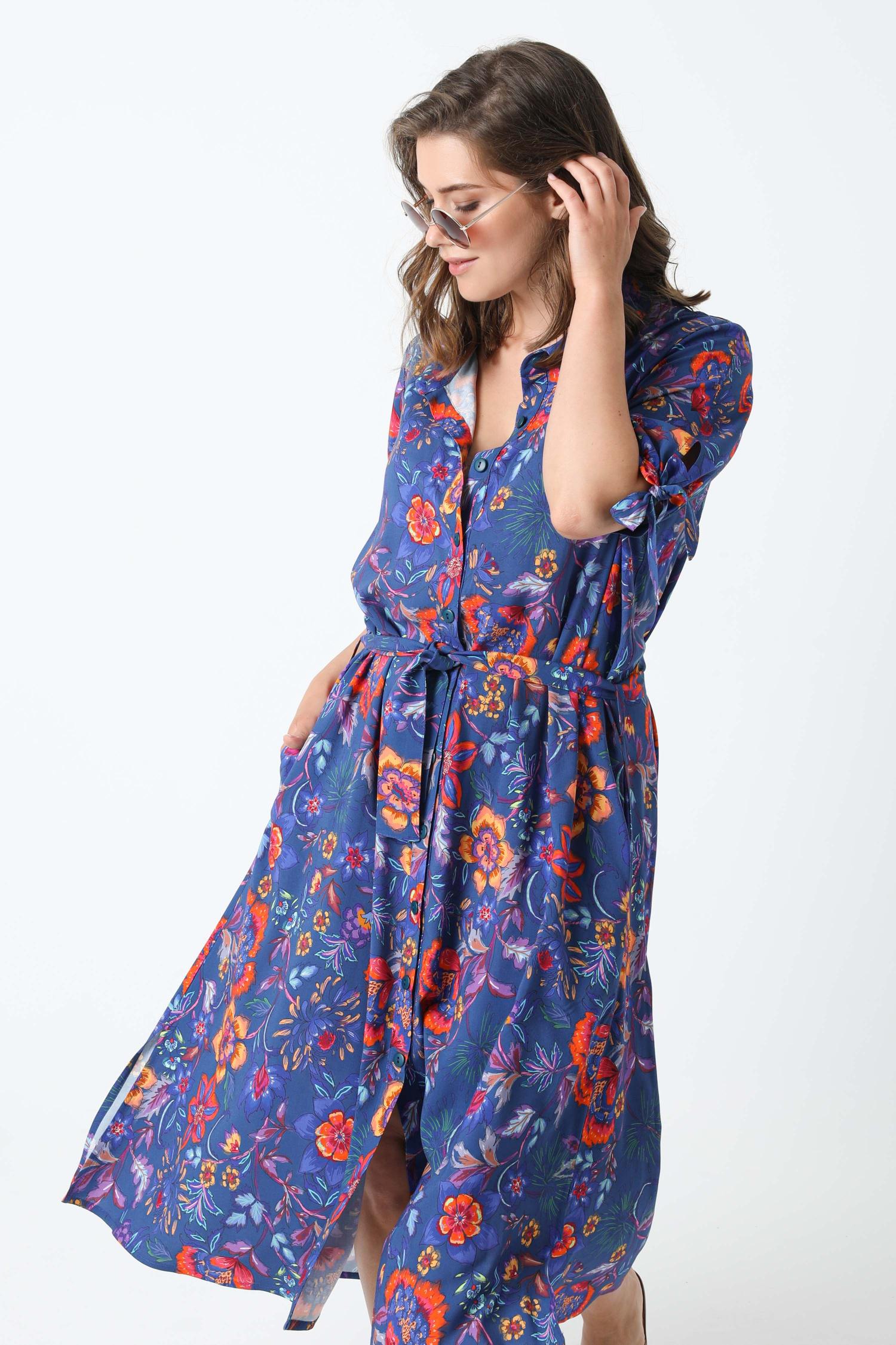 Long printed shirt dress oeko-tex fabrics (Shipping 10/15 JUNE)