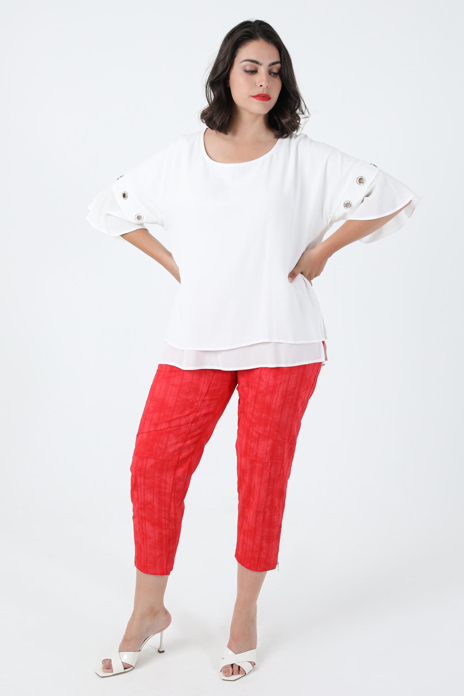 Plain textured pants