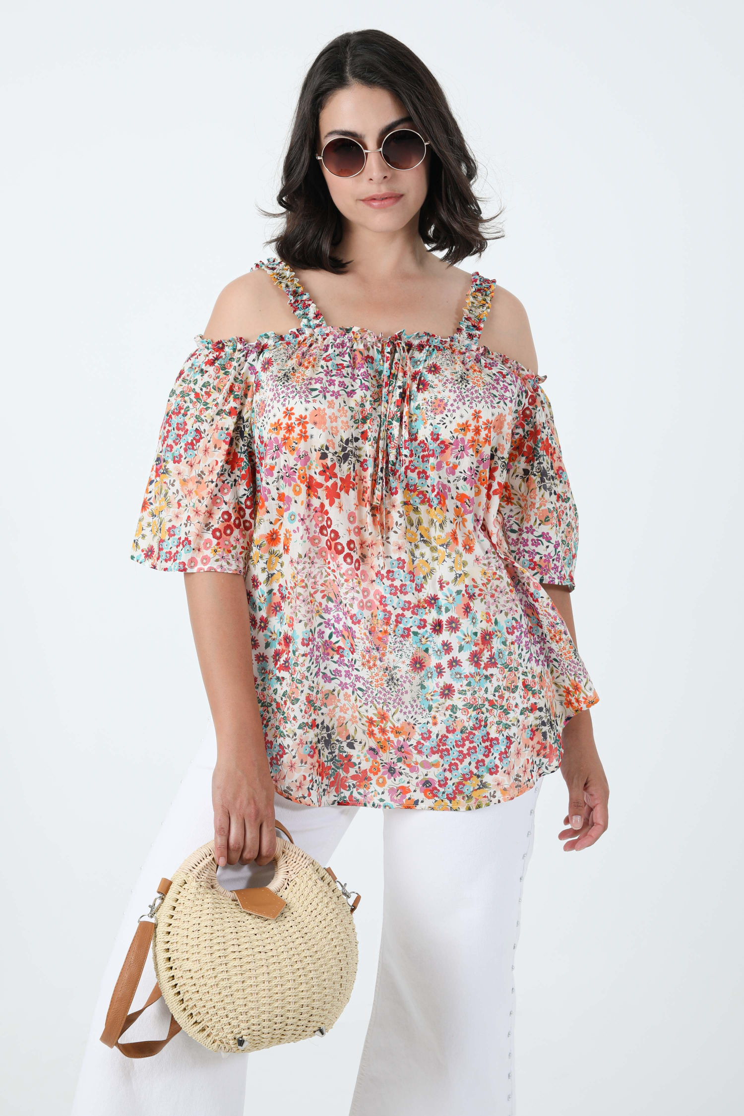 Printed cotton voile blouse with oeko-tex fabric straps
