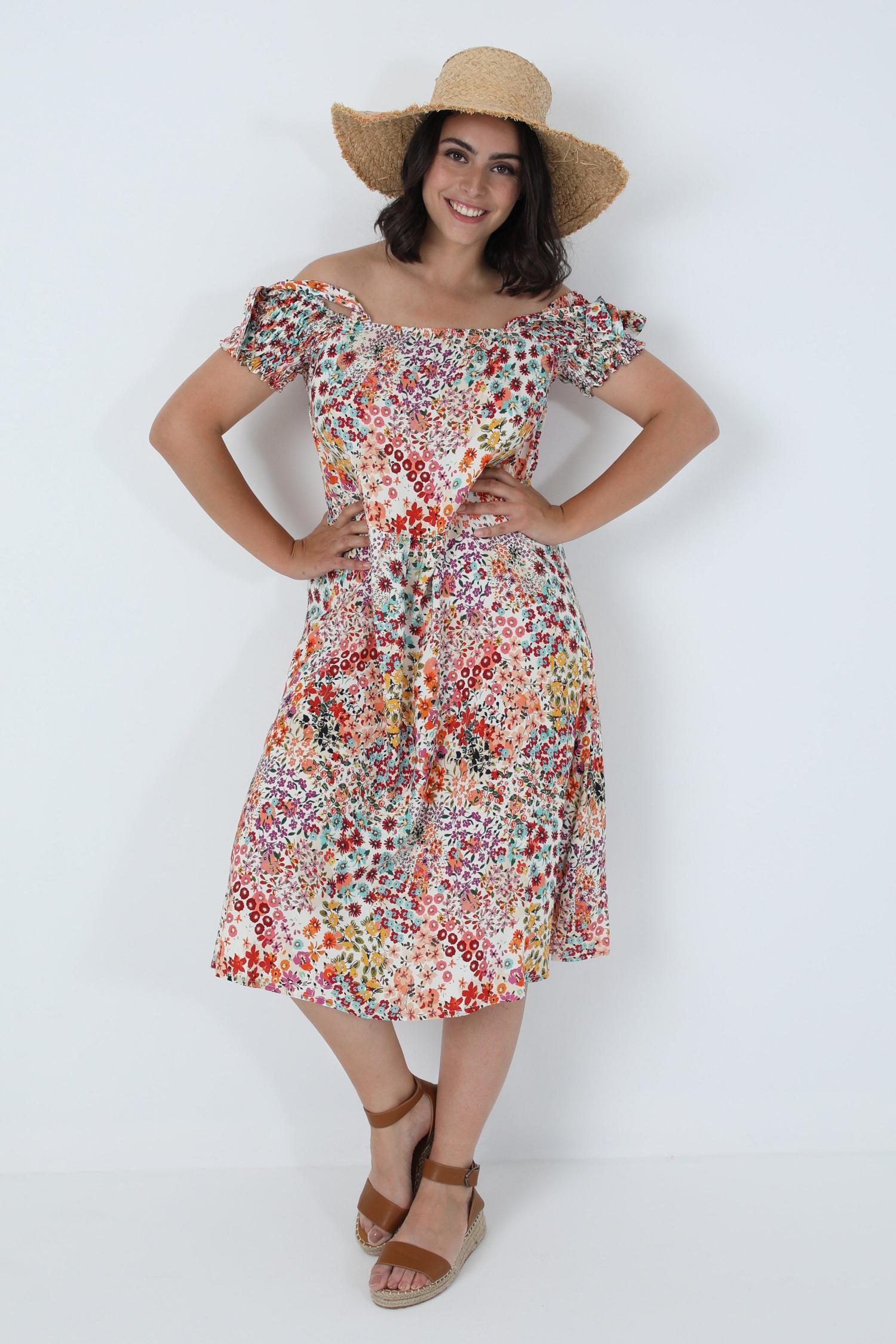Oeko-tex printed midi dress