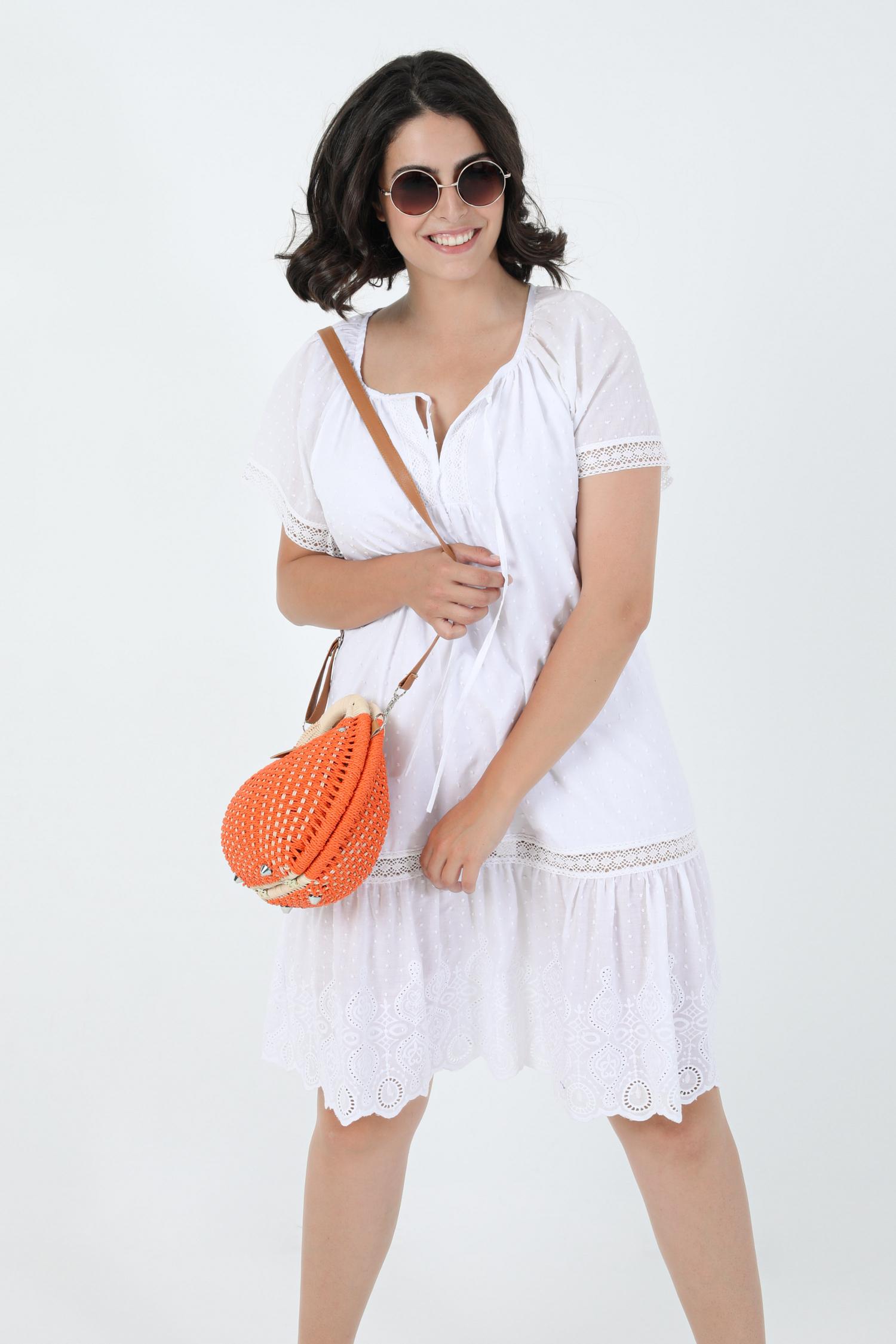 English embroidery cotton dress