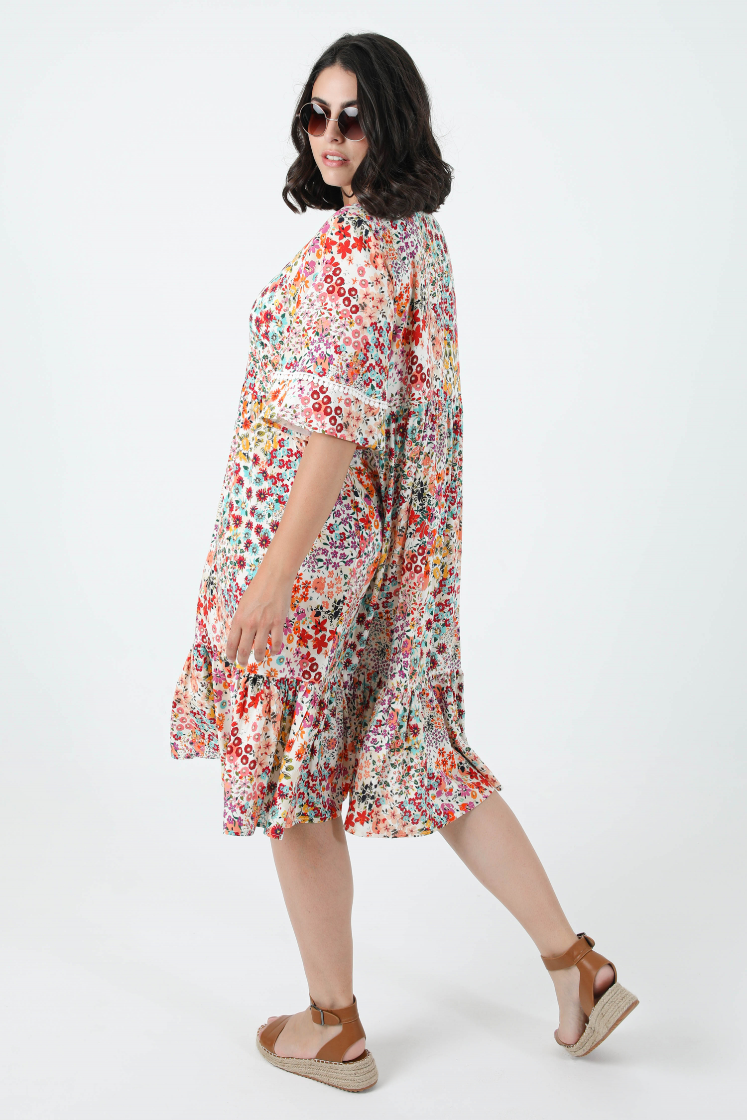 Mid-length dress printed with oeko-tex fabrics (expedition 25/30 June)