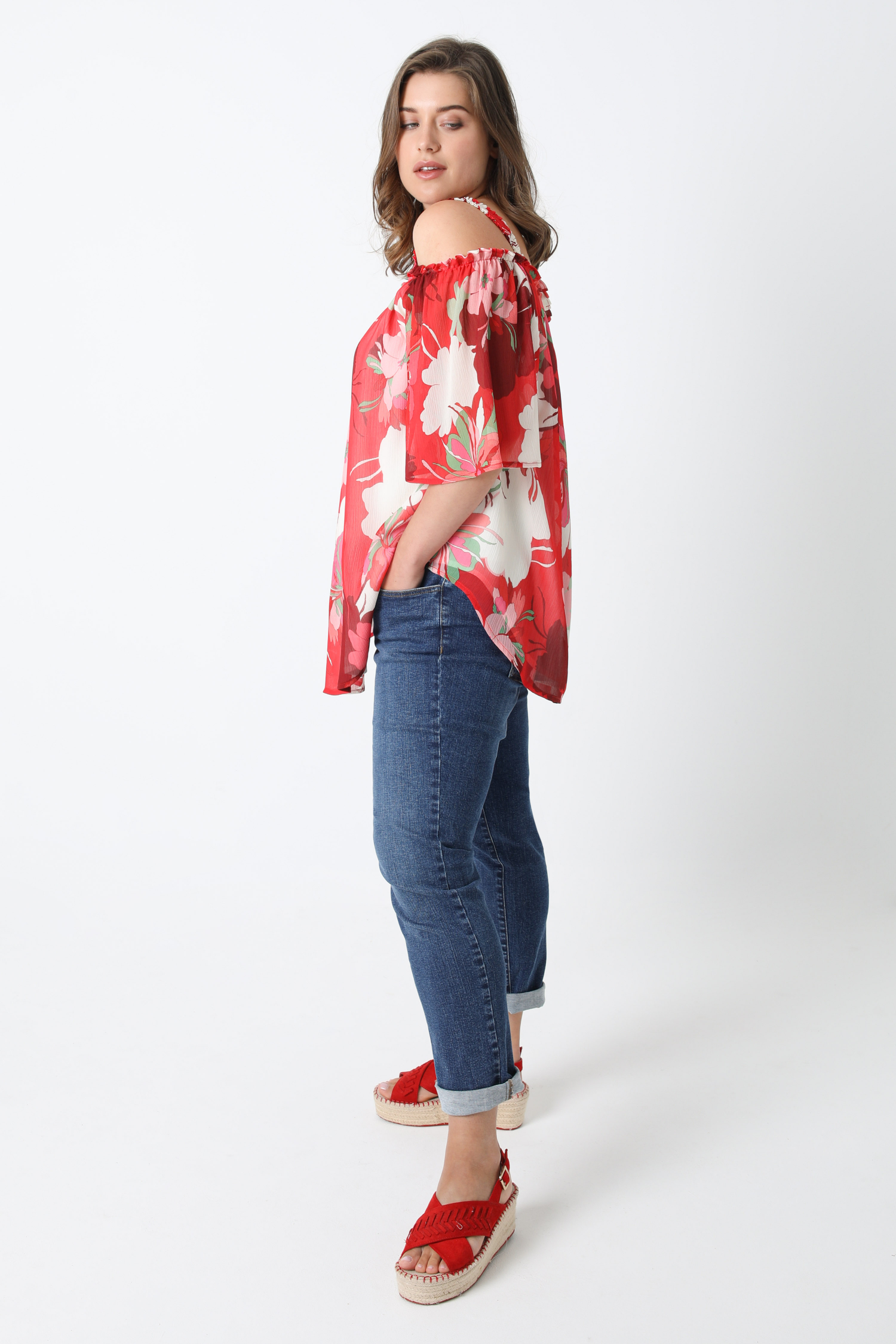Printed veil blouse with oeko-tex fabric straps (Shipping 5/10 June)