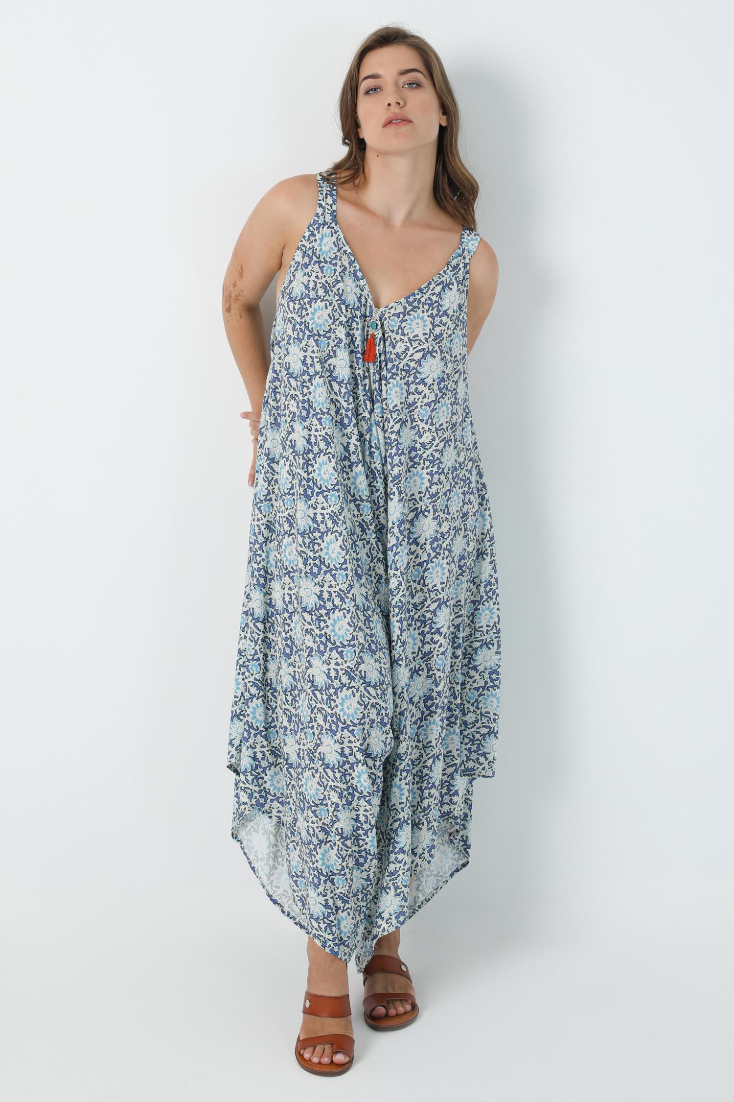 Harem effect printed jumpsuit with oeko-tex fabrics