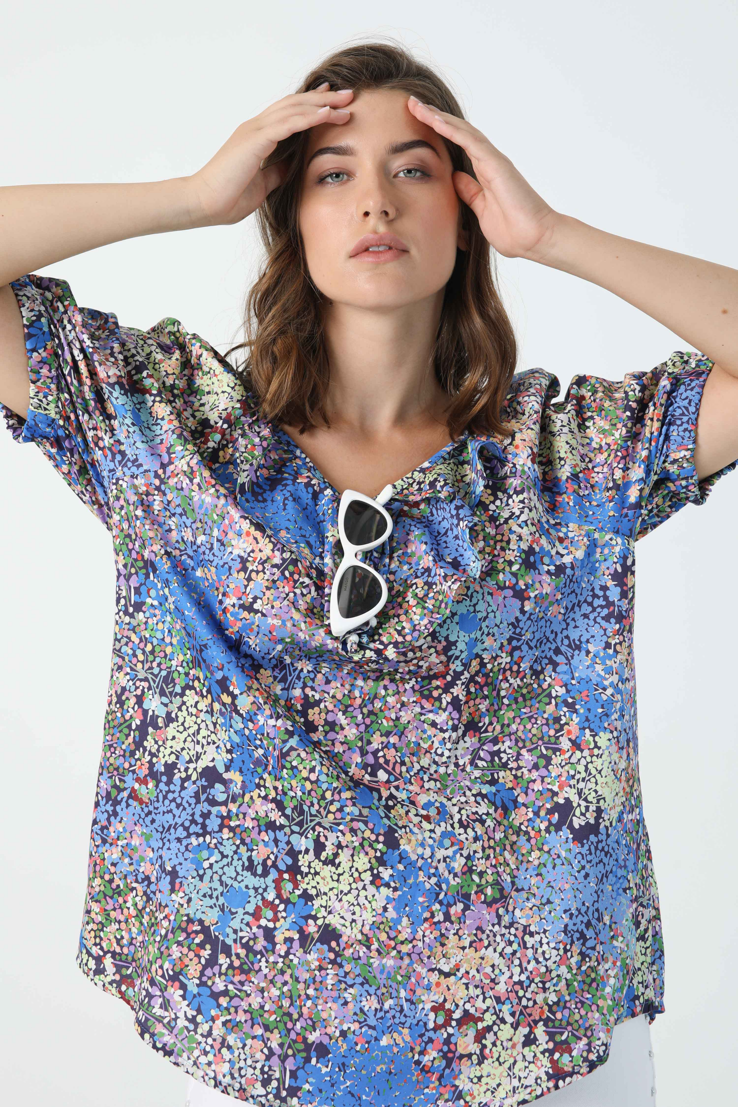 Printed cotton blouse with eoko-tex fabric