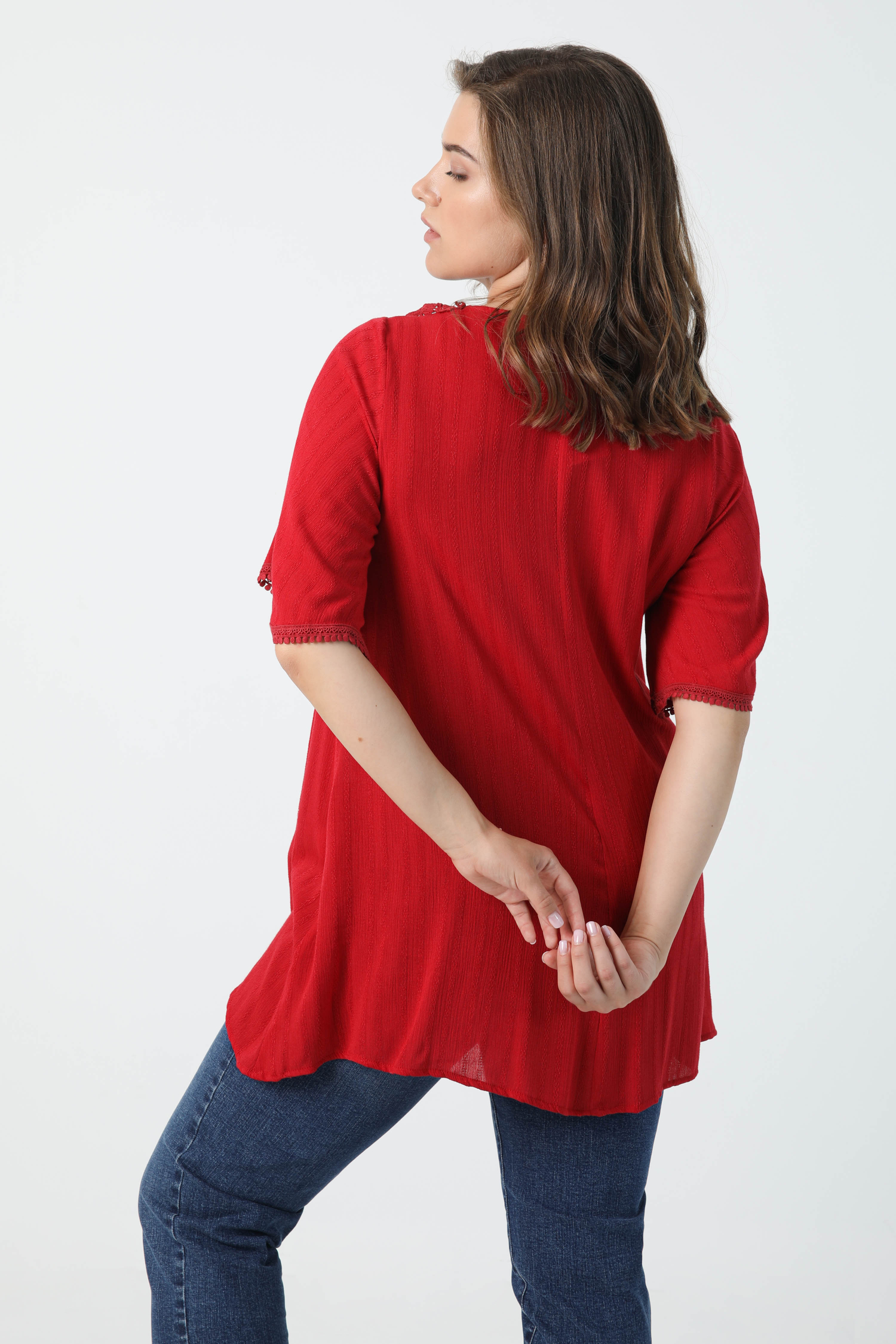 Striped effect crepon tunic with macrame collar (shipping May 10/15)