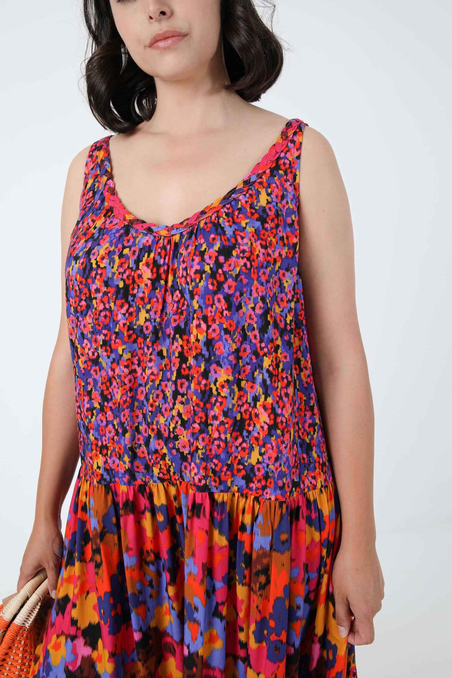 Bohemian style sleeveless printed long dress