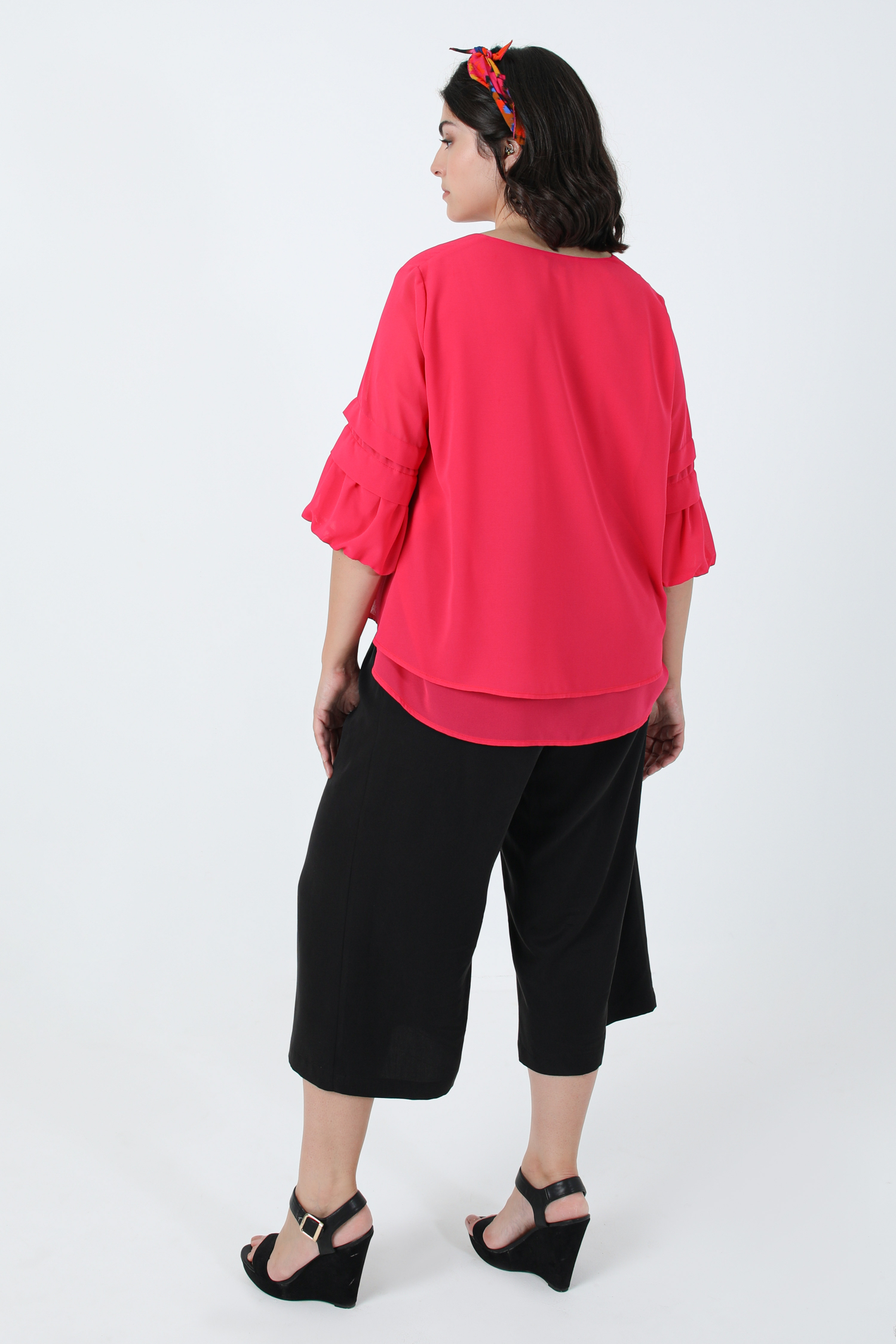A-line superimposed blouse in plain voile (expedition 20/25 July)