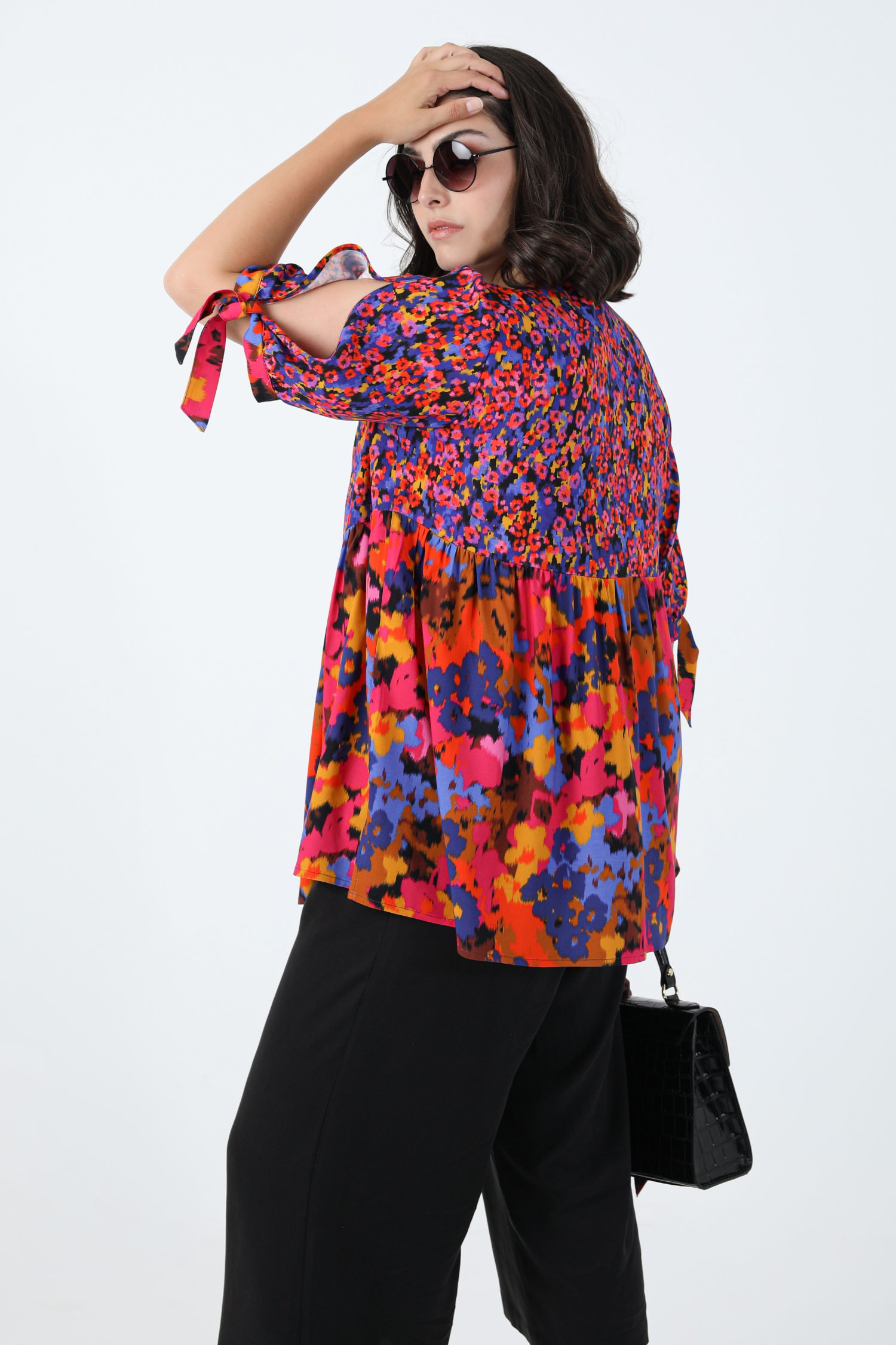 Bi-pattern printed tunic in eoko-tex fabric