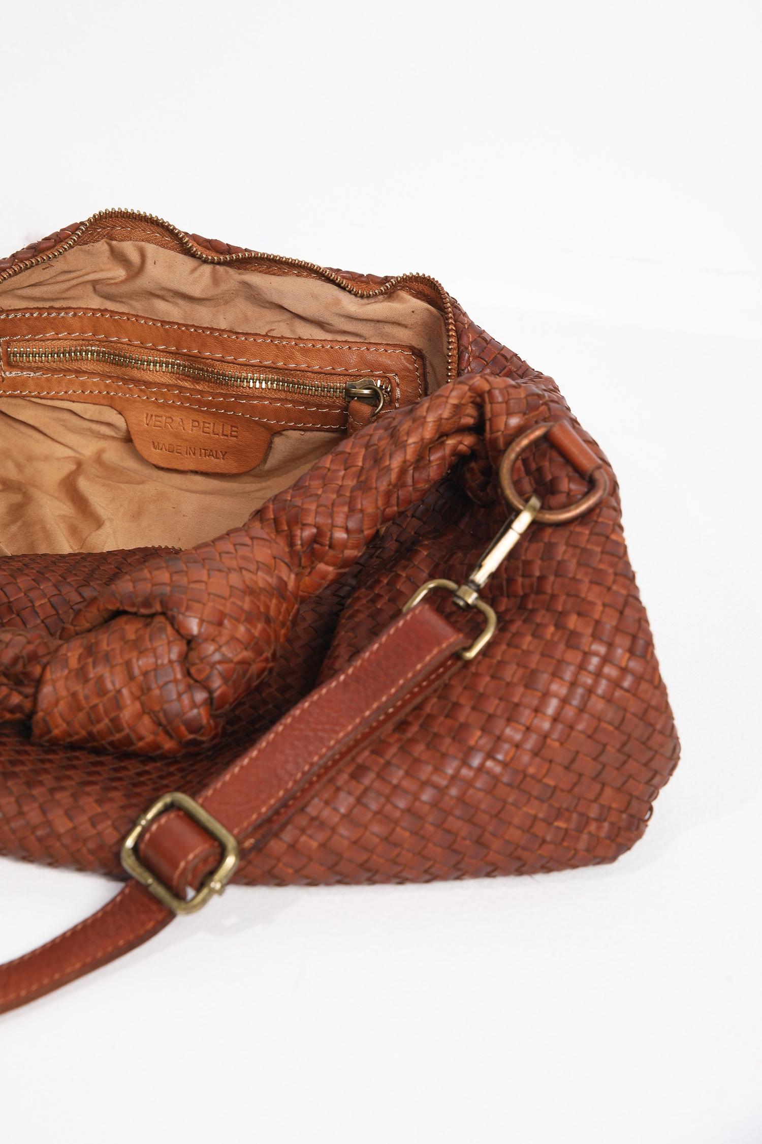 Braided leather bag