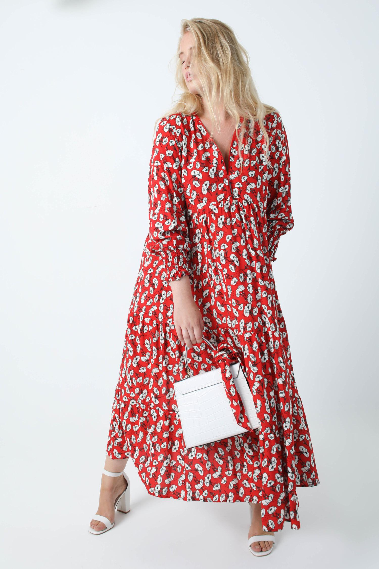 Long bohemian style dress in printed viscose oeko-tex fabrics