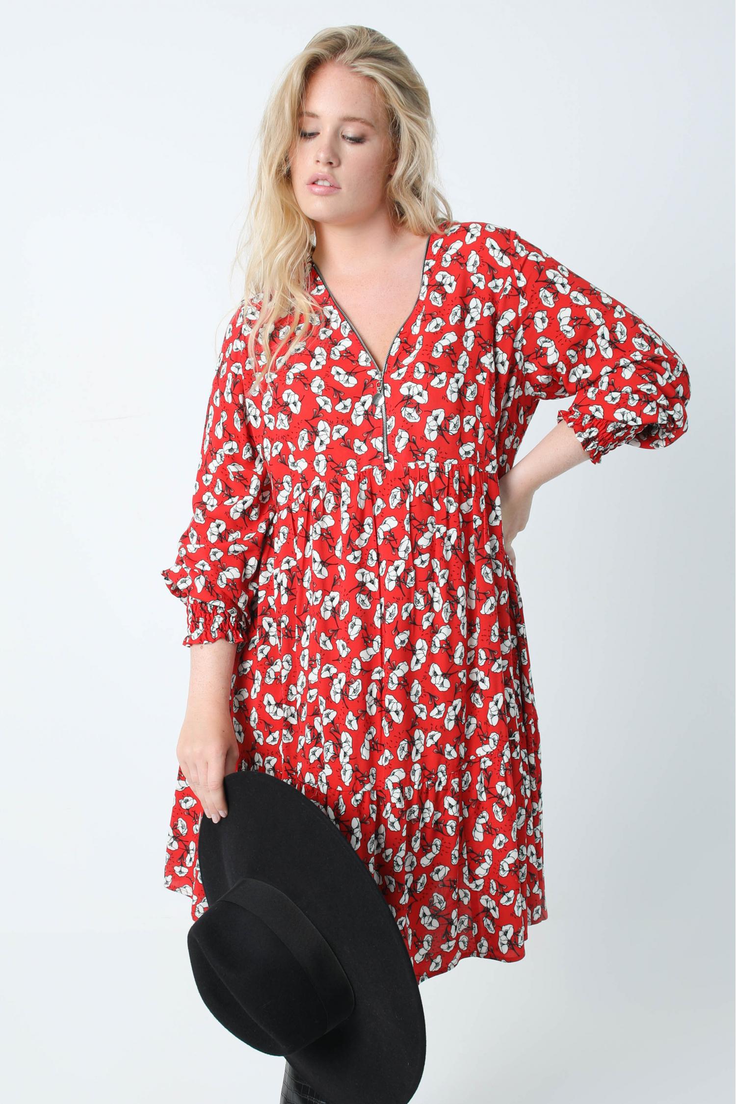 Printed dress with zipped collar in oeko tex fabric