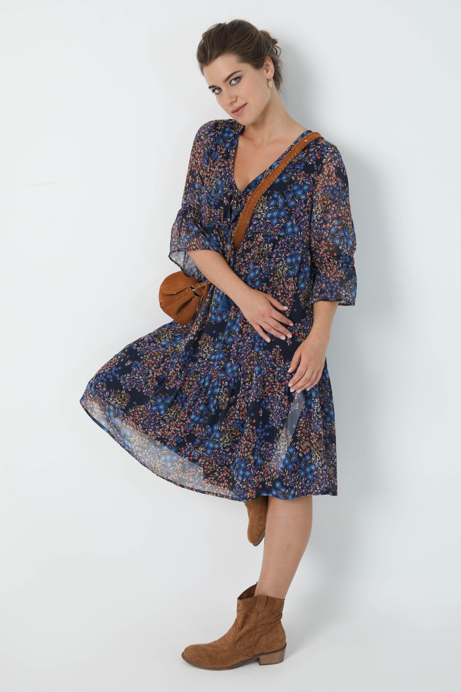 Bohemian style mid-length dress in veil printed with oeko-tex fabric