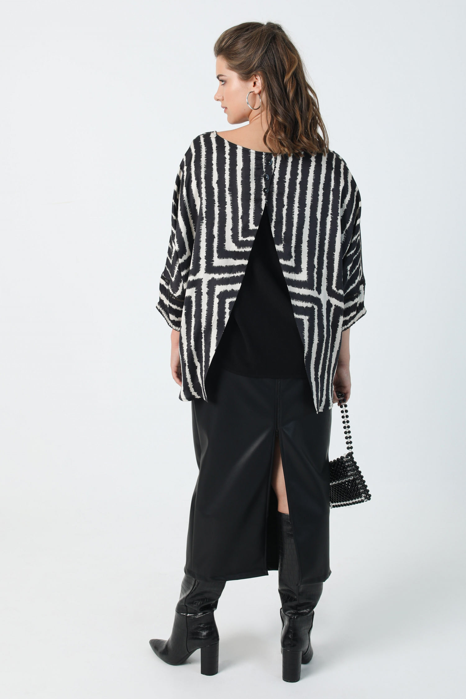 Overlay blouse with graphic satin print