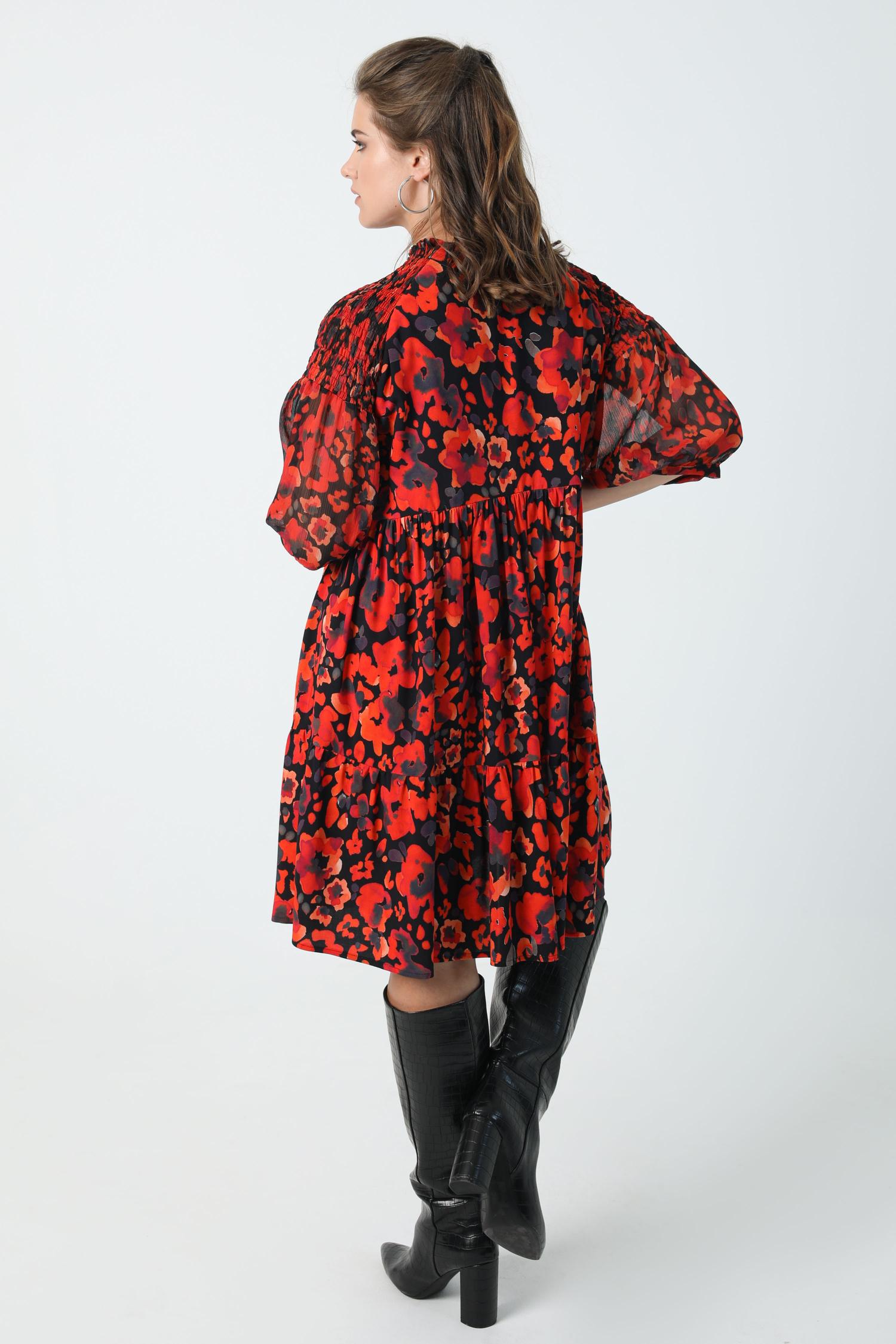 Printed midi dress with shoulder smocking