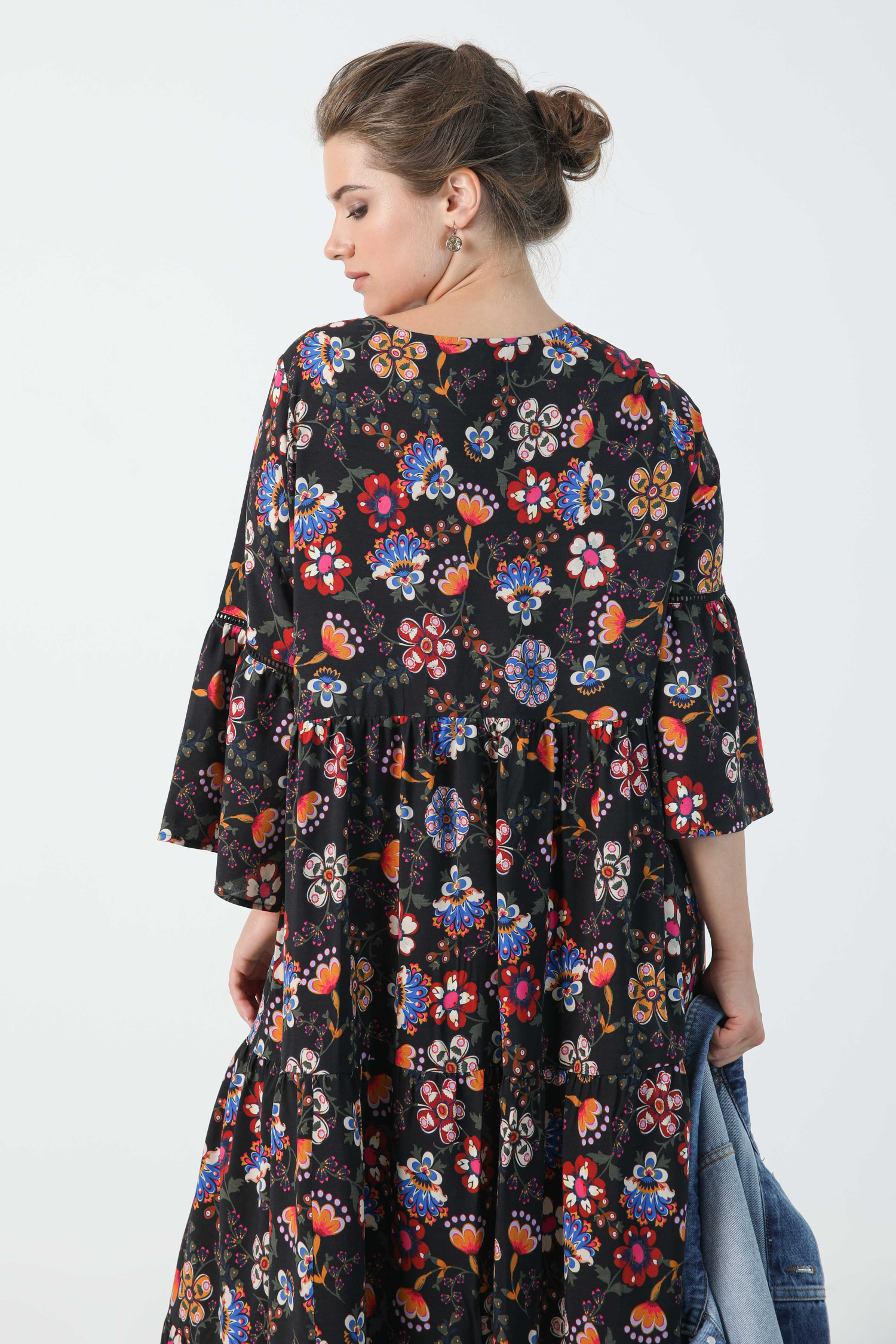 Bohemian style printed long dress in oeko-tex fabric