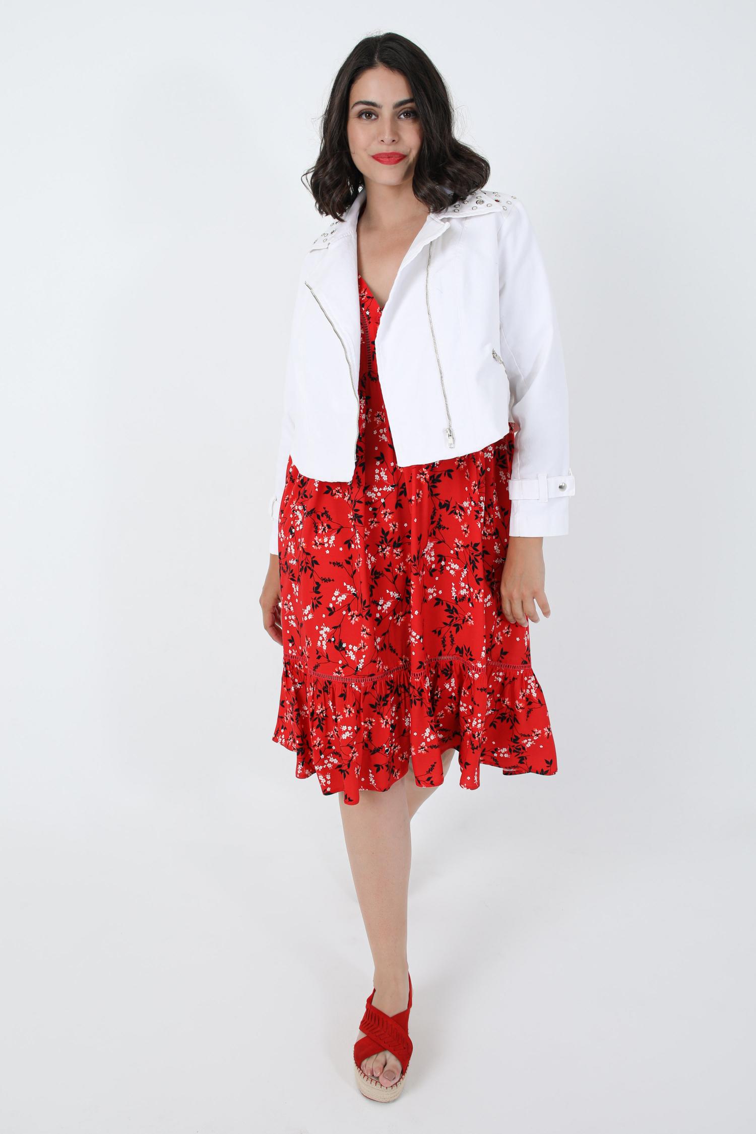 Sleeveless mid-length dress printed with eoko-tex fabric (Shipping July 25/30)